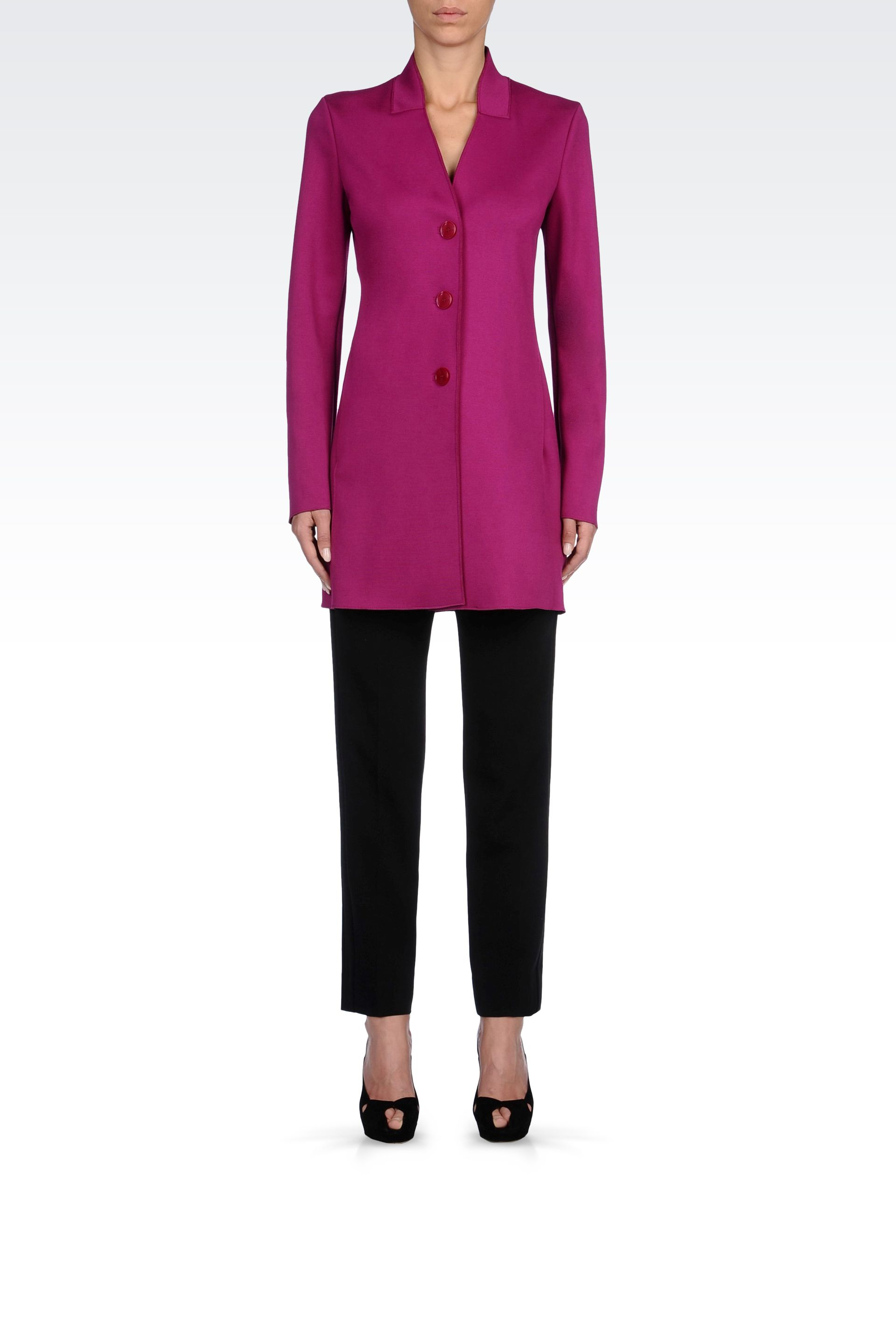 Lyst Emporio Armani Coat In Neoprene In Purple