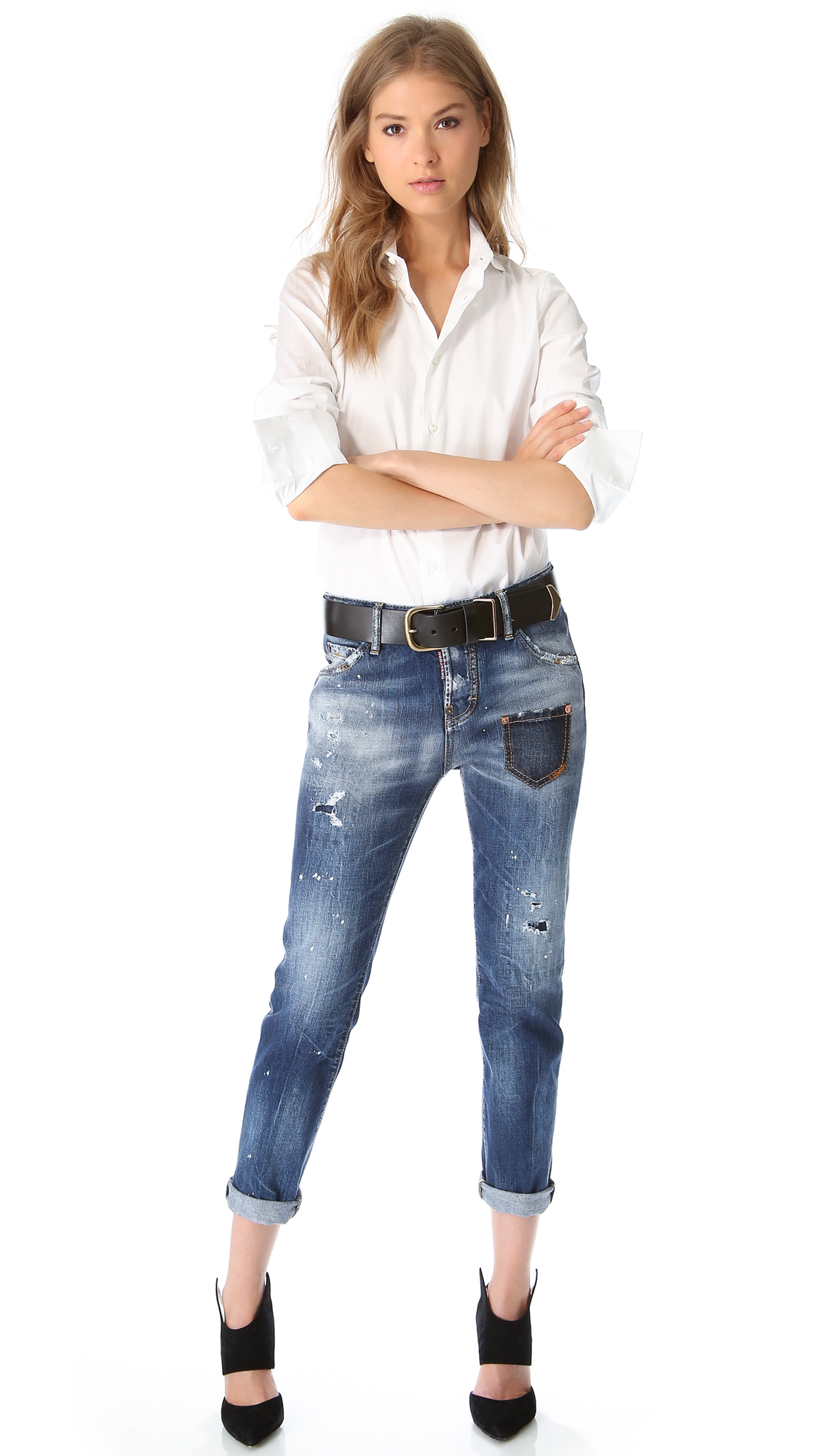 lyst dsquared178 cool girl jeans in blue