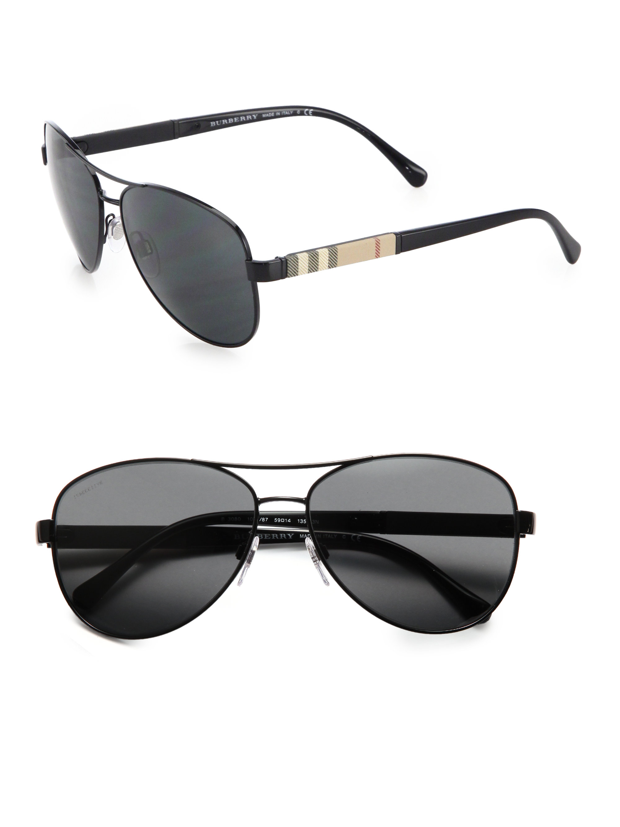 532f5563db Burberry Check Detail Pilot Sunglasses