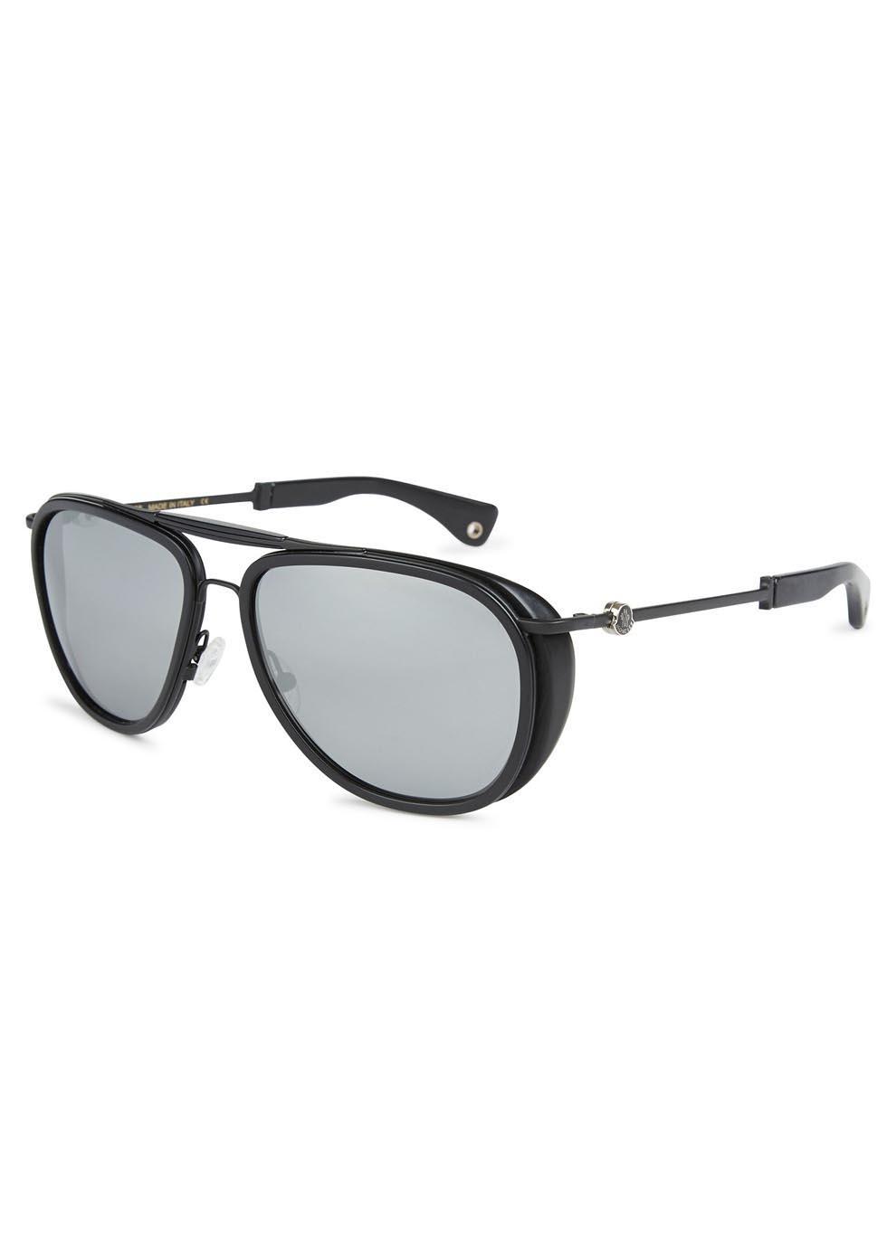 71e087e076 Moncler Aviator Style Acetate Sunglasses in Black for Men - Lyst