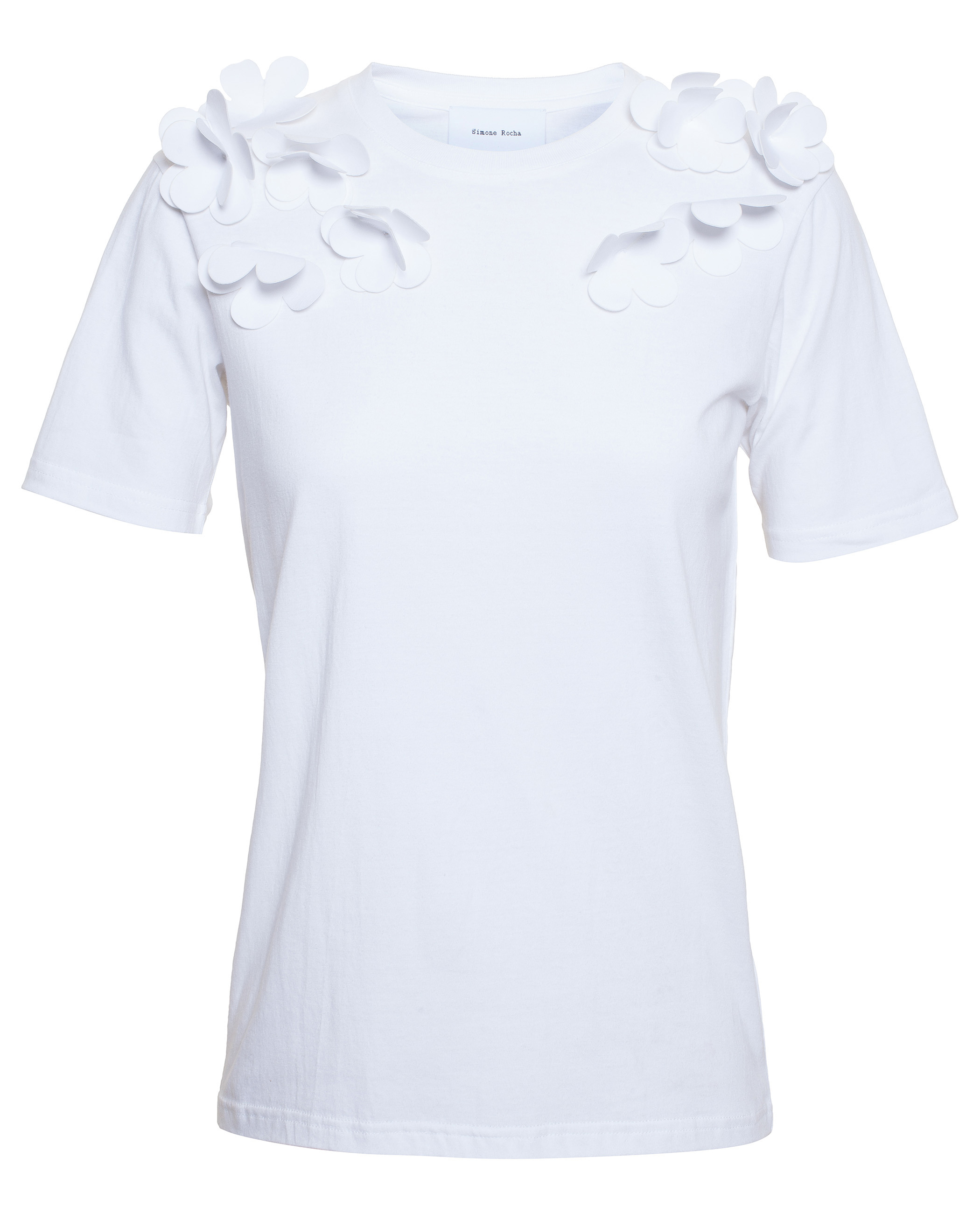 Lyst simone rocha t shirt with floral appliqu in white for Applique shirts for sale
