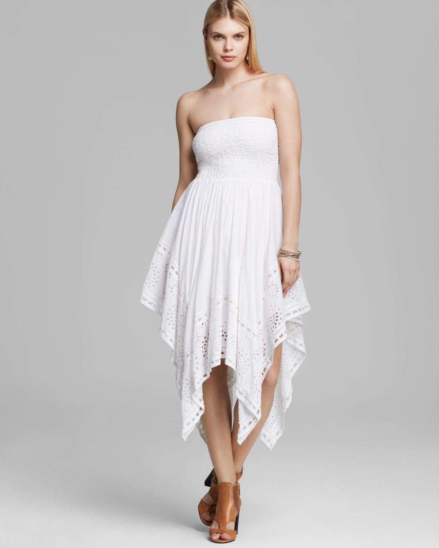 Michael michael kors Strapless Eyelet Dress in White - Lyst