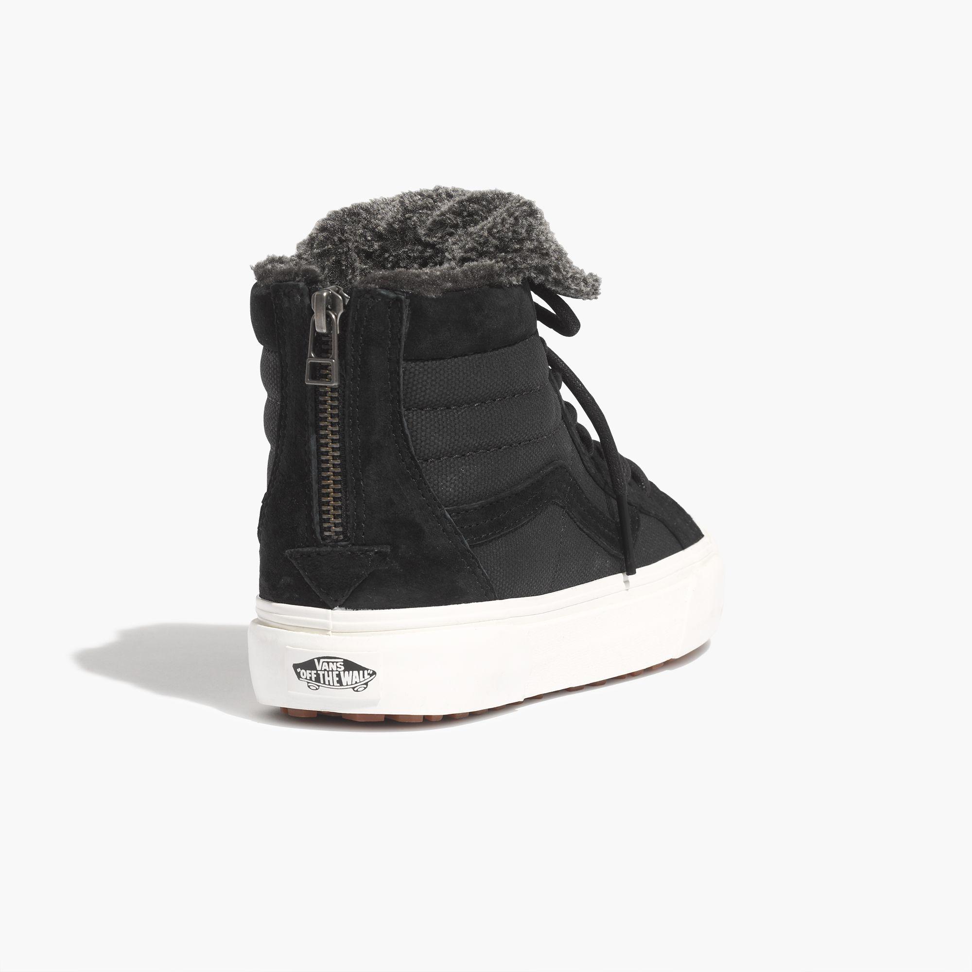 Lyst - Madewell Vans® Sk8-hi Slim Zip High-top Sneakers In Fleece in Black bdbb7cc66
