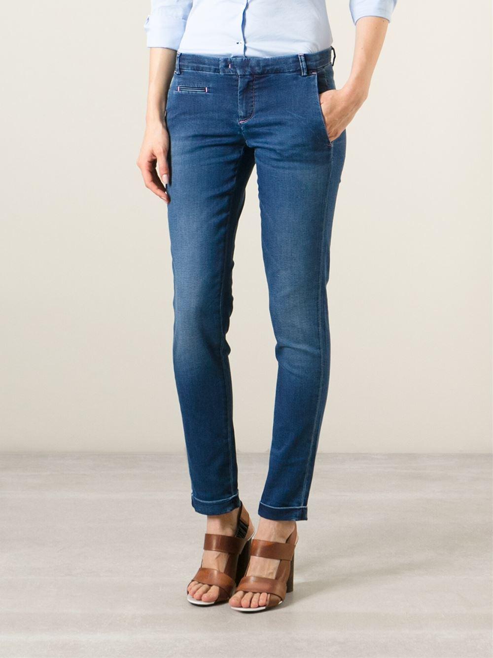 Jacob cohen slim mid rise stretch denim jeans in blue lyst - Jacob cohen denim ...