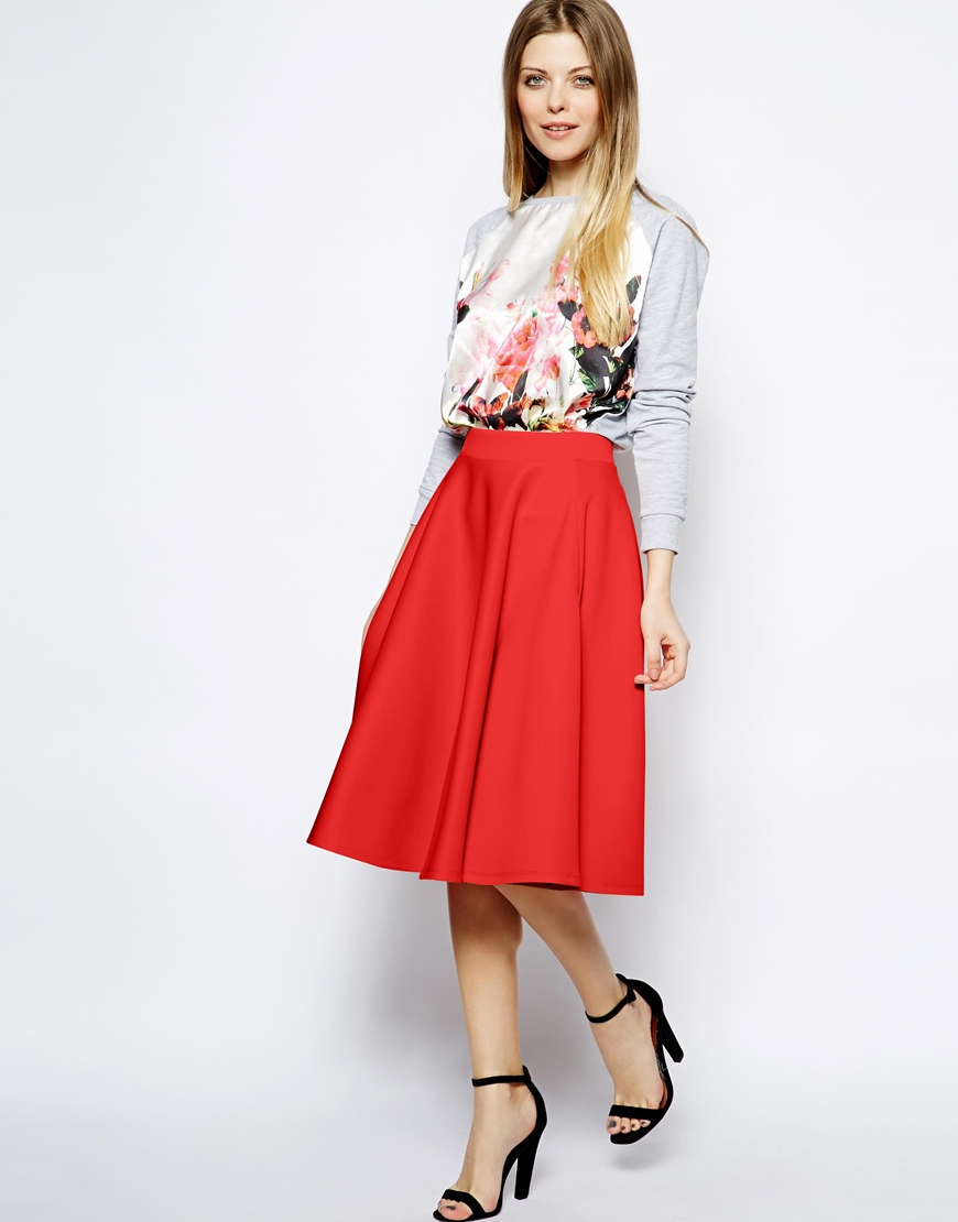 Asos Full Midi Skirt In Scuba With Pockets in Orange | Lyst