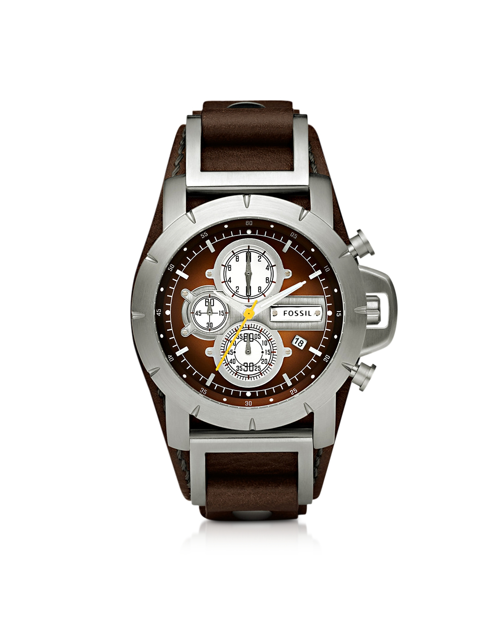 Lyst fossil jake chronograph brown leather mens watch in brown for men for Fossil watches