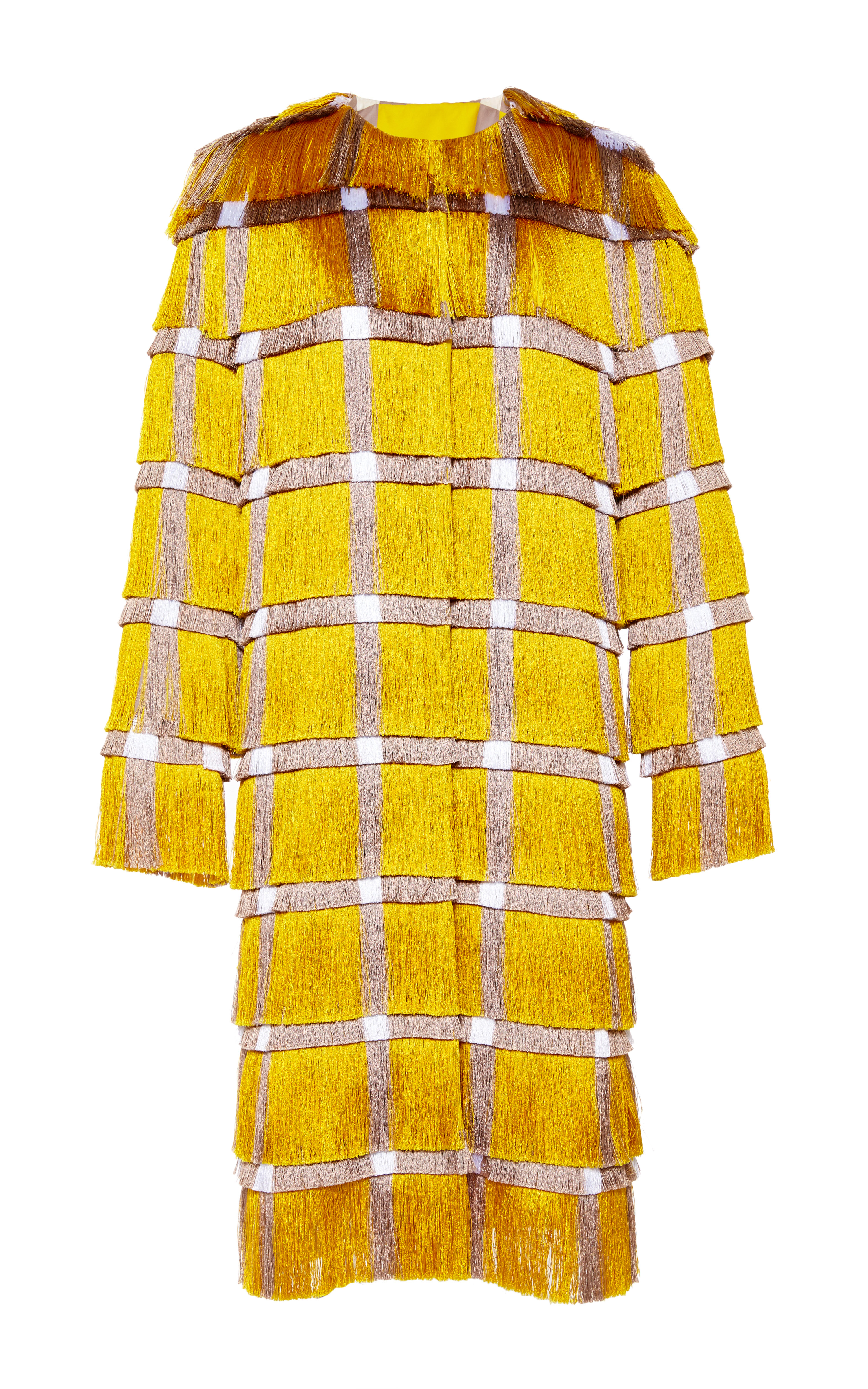 ac665e3b18 Marco De Vincenzo Fringe Cady Coat in Yellow in Yellow - Lyst
