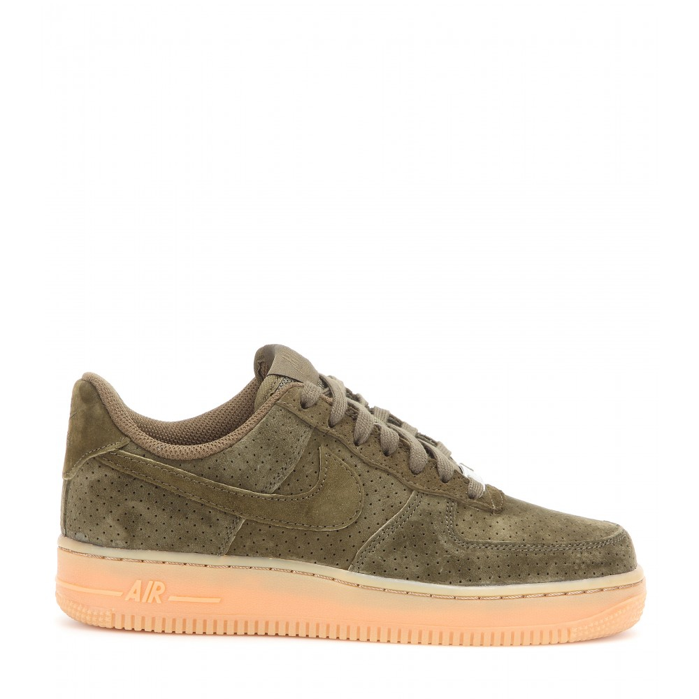 lyst nike air force 1 suede sneakers in green. Black Bedroom Furniture Sets. Home Design Ideas