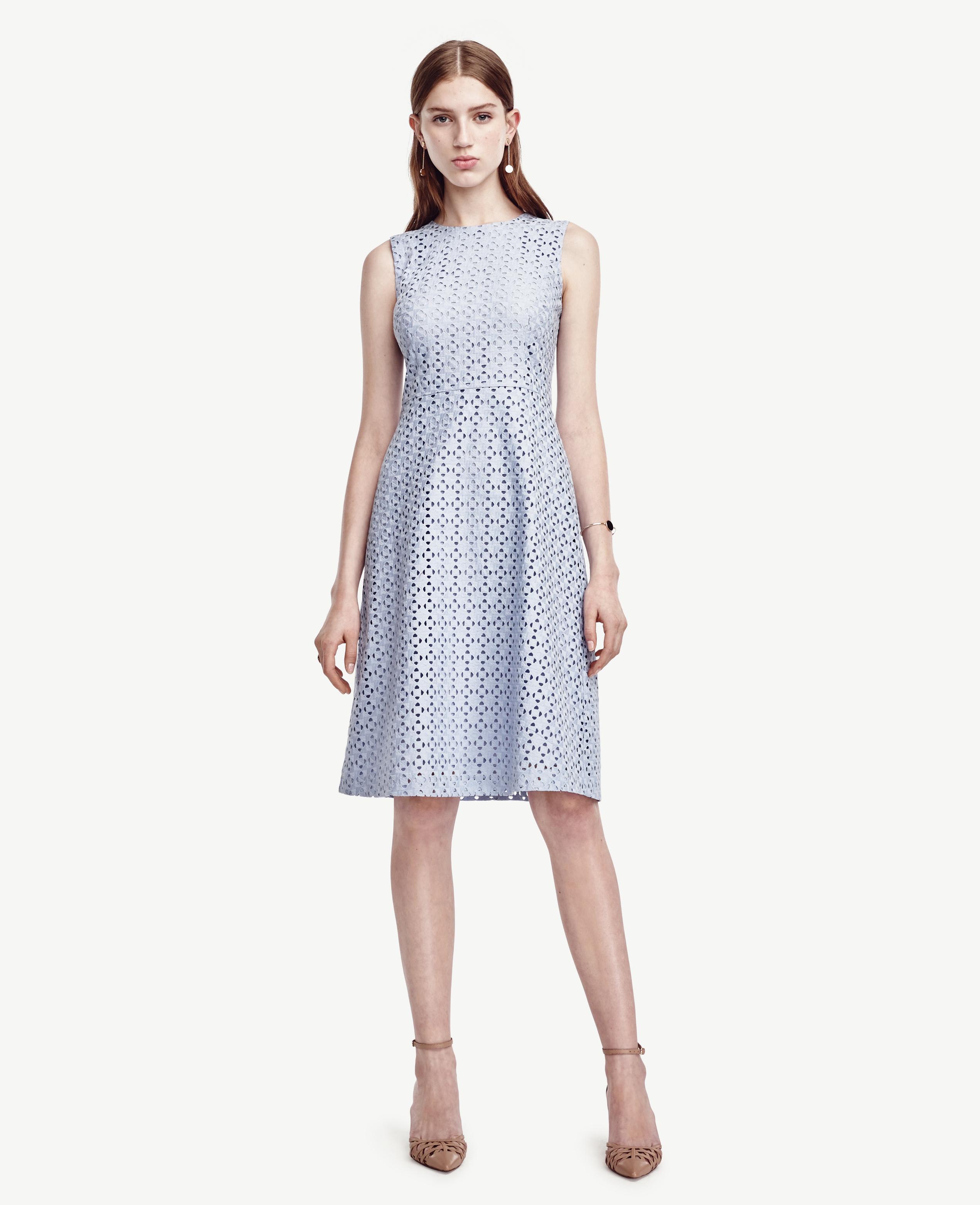 d5ef7f04456c8d Ann Taylor Petite Eyelet Flare Dress in Blue - Lyst