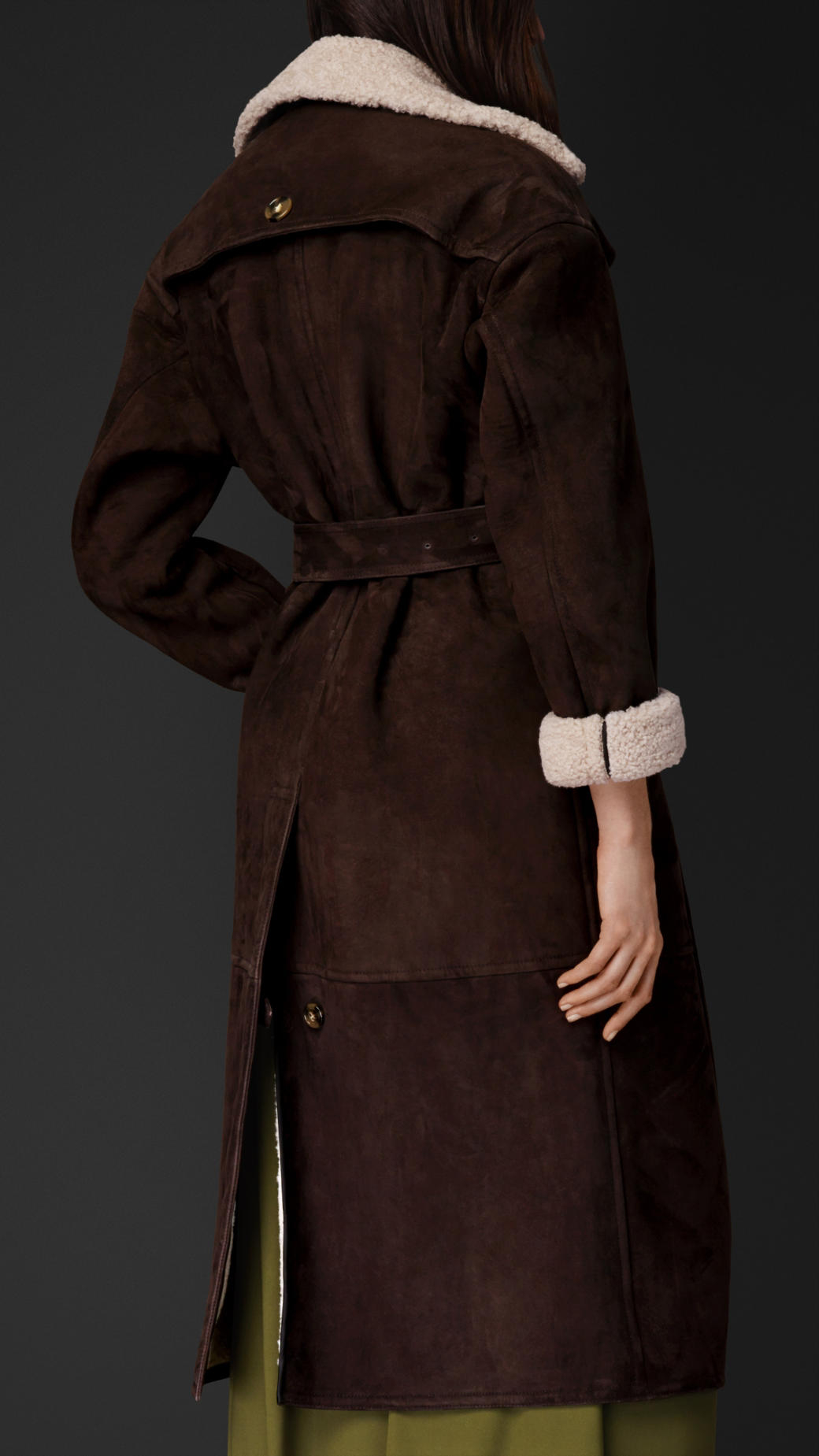 Burberry Sheepskin Trench Coat in Brown | Lyst