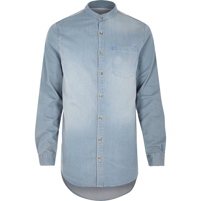 River island Light Wash Denim Long Collarless Shirt in Blue for ...
