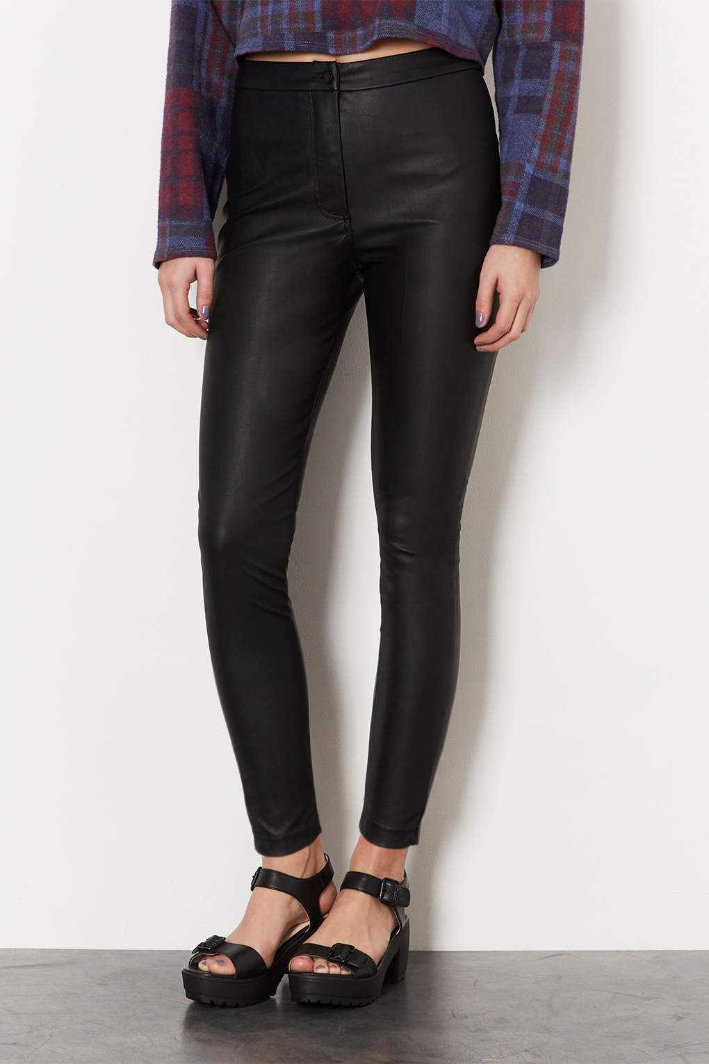 Topshop Petite Leather Look Highwaisted Trousers in Black | Lyst