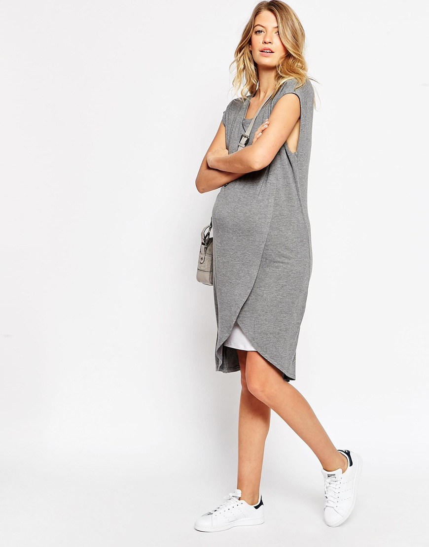 Lyst asos nursing dress with wrap overlay in gray gallery ombrellifo Image collections