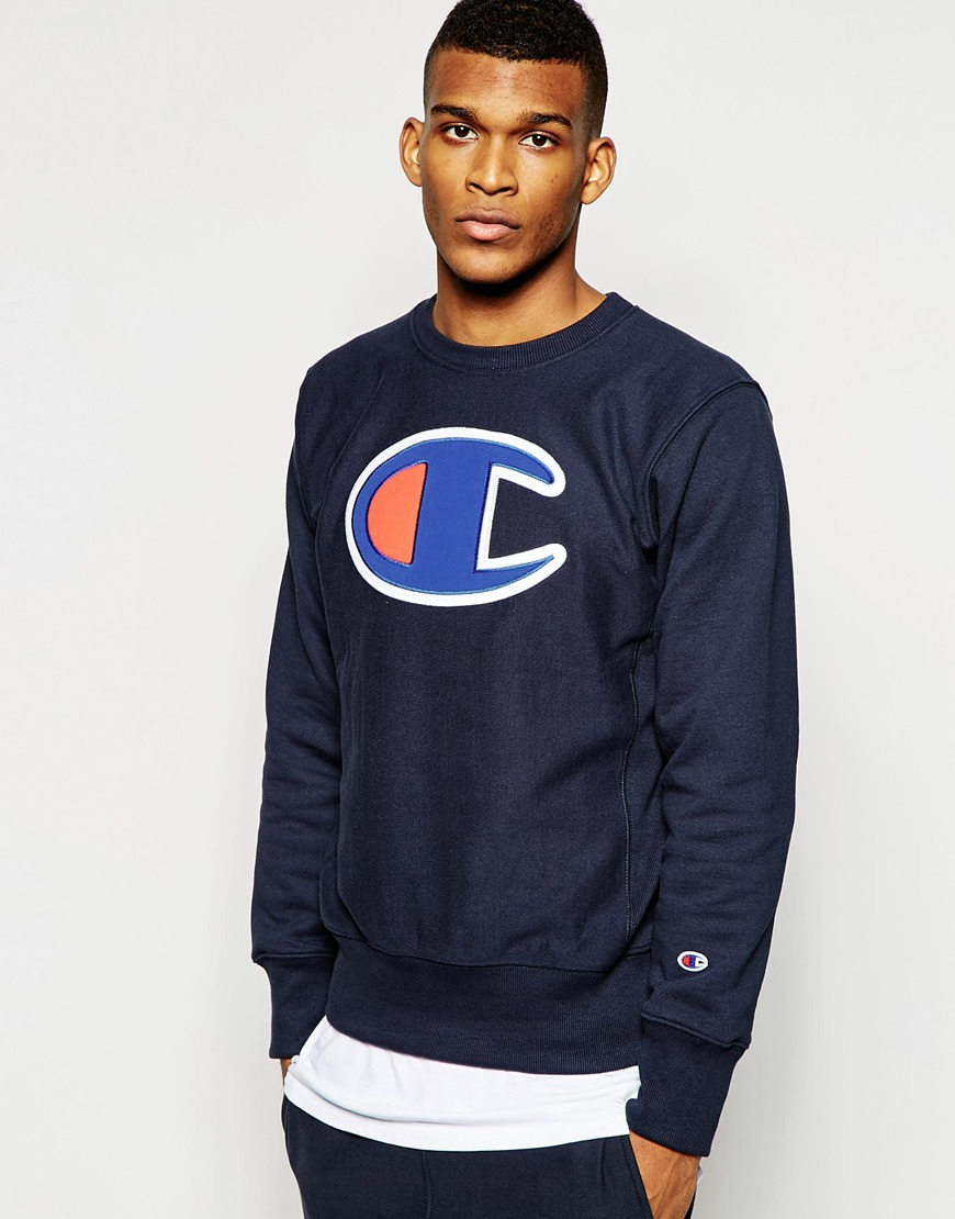 Champion Sweatshirt With Large Logo in Blue for Men | Lyst