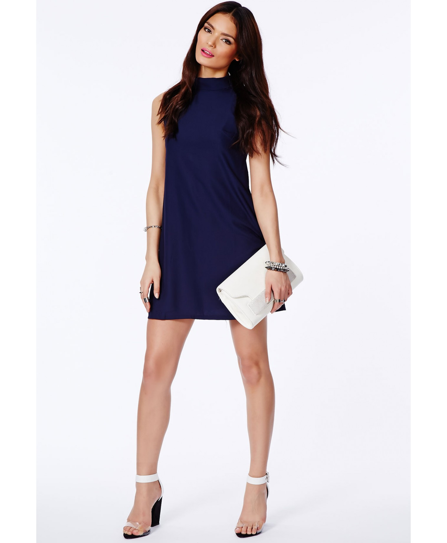 56f7629137 Lyst - Missguided Jemna Navy Shift Dress With Roll Neck in Blue