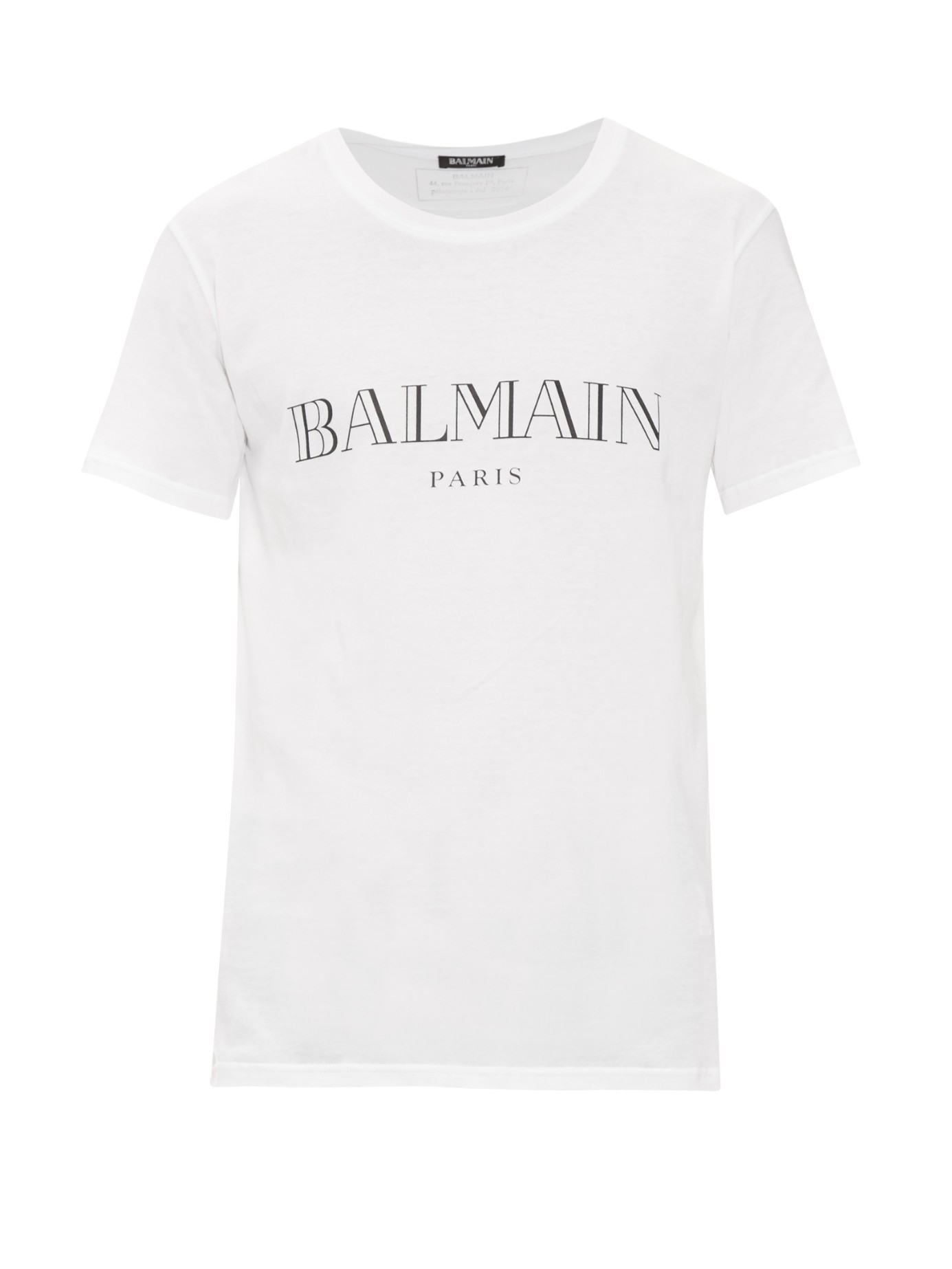 Balmain logo print cotton t shirt in white for men lyst for White t shirt printing