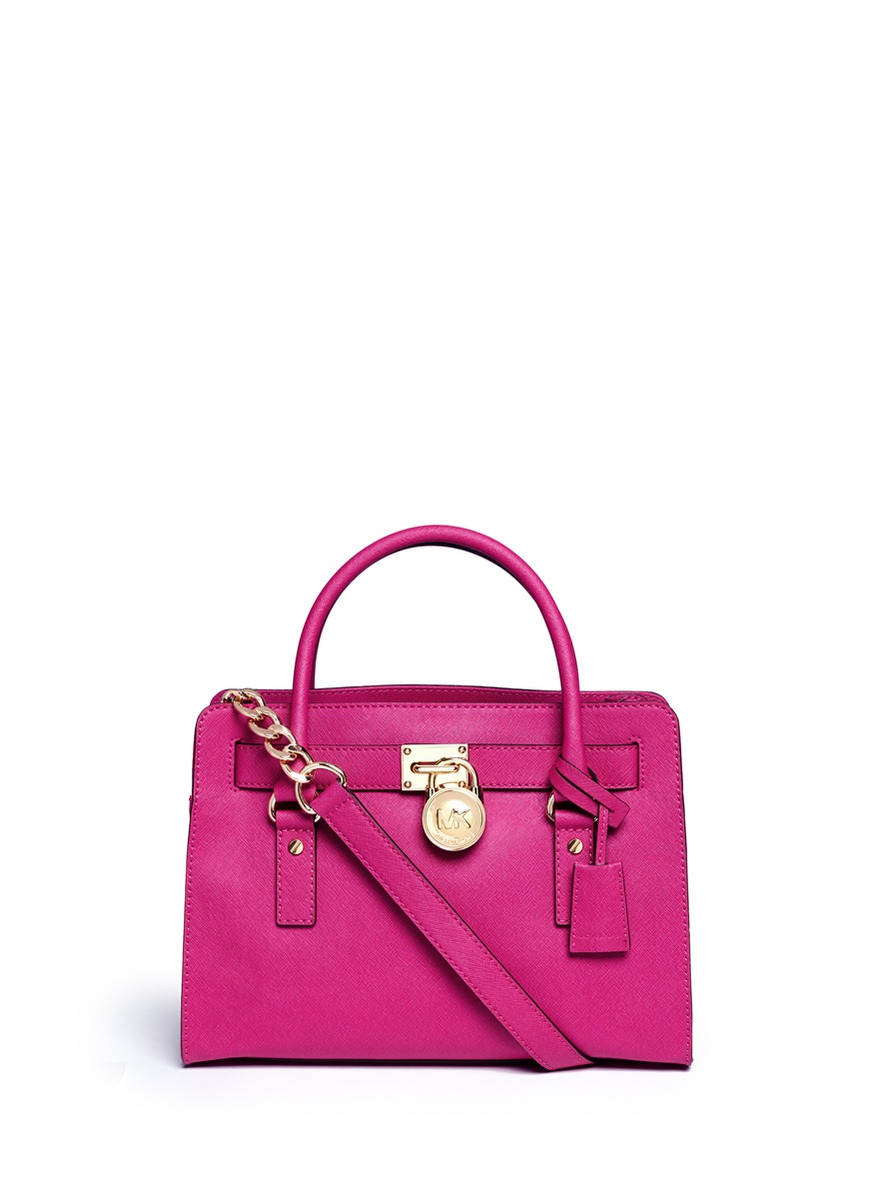 Michael Kors Hamilton Medium Saffiano Leather Padlock Tote