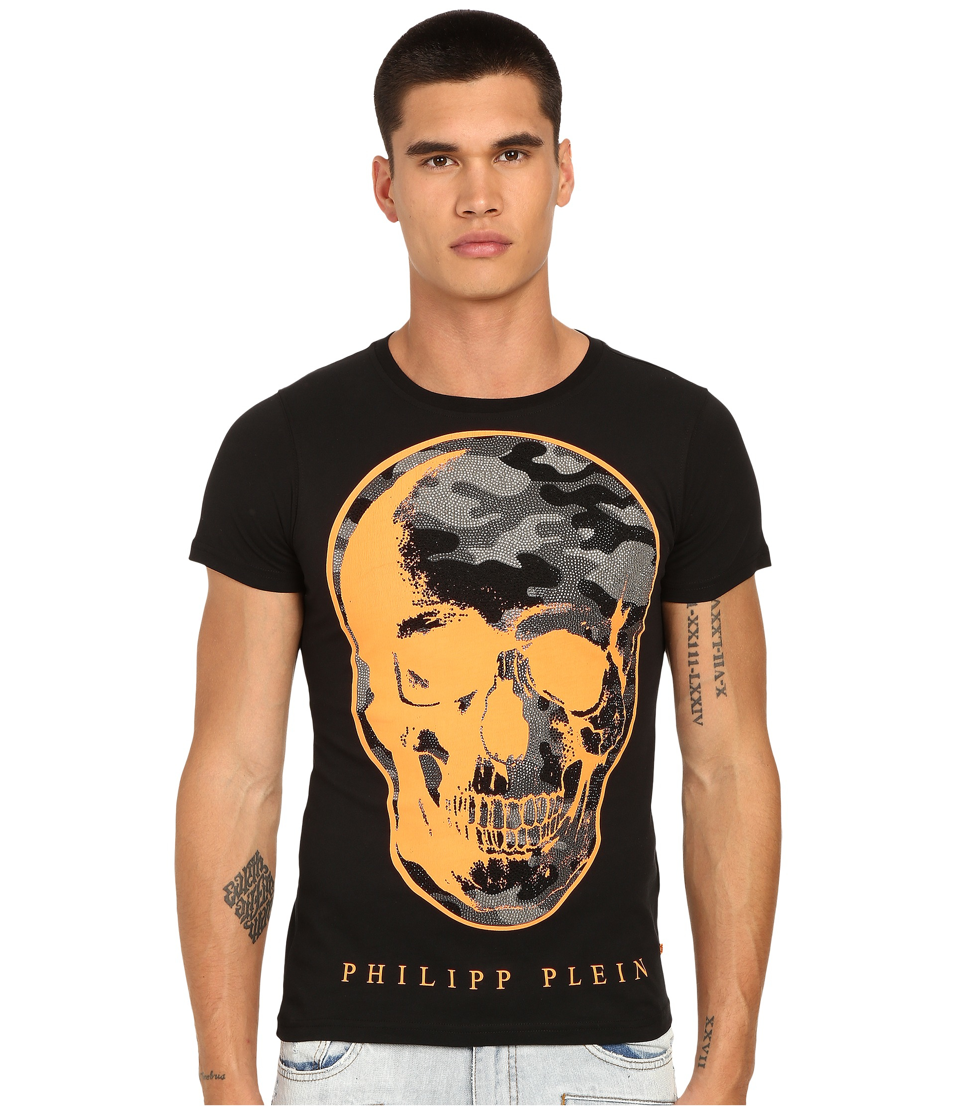 cf437608d2 Philipp Plein Camo Skull T-shirt in Black for Men - Lyst