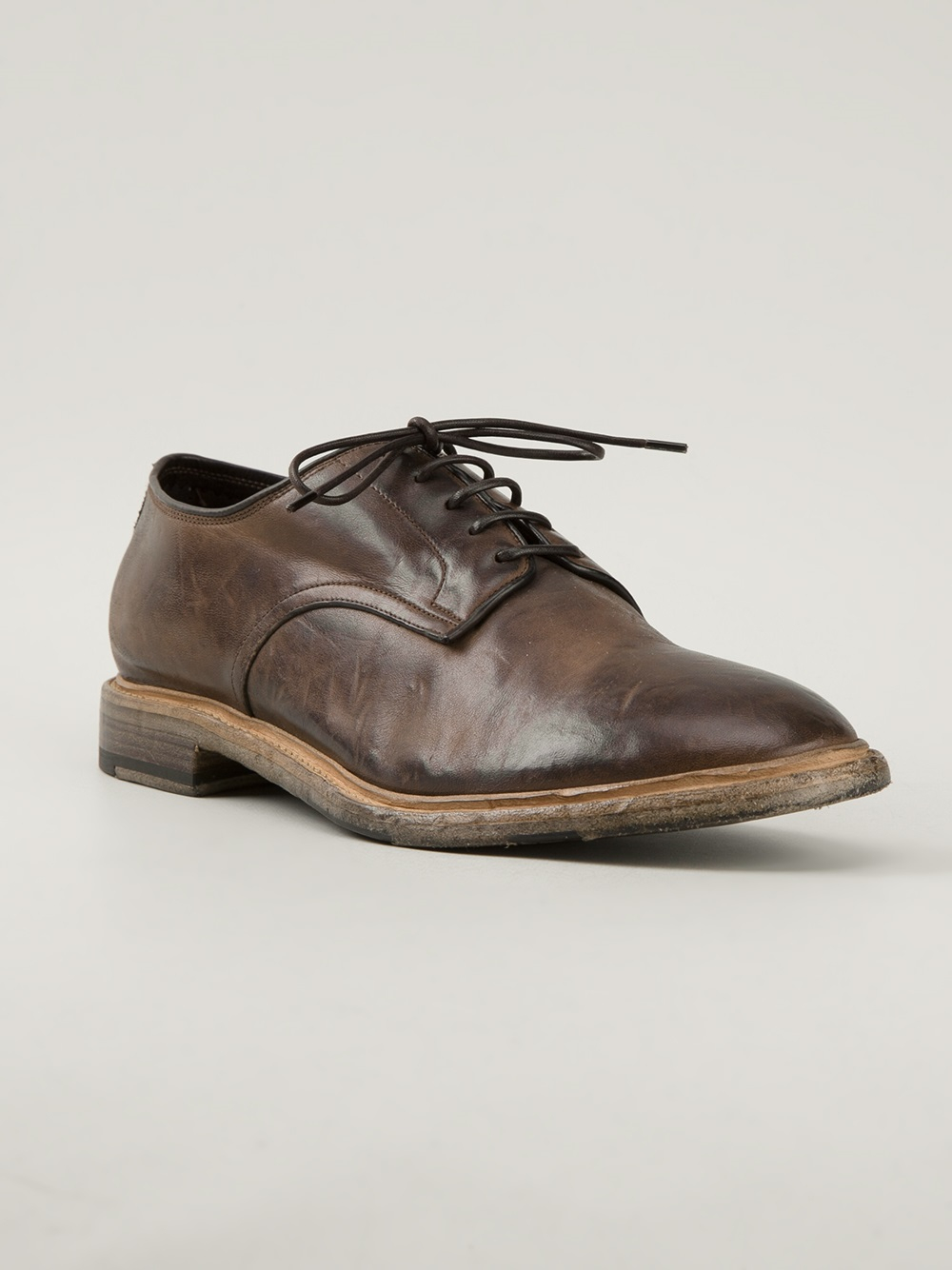 silvano sassetti distressed derby shoe in brown for lyst