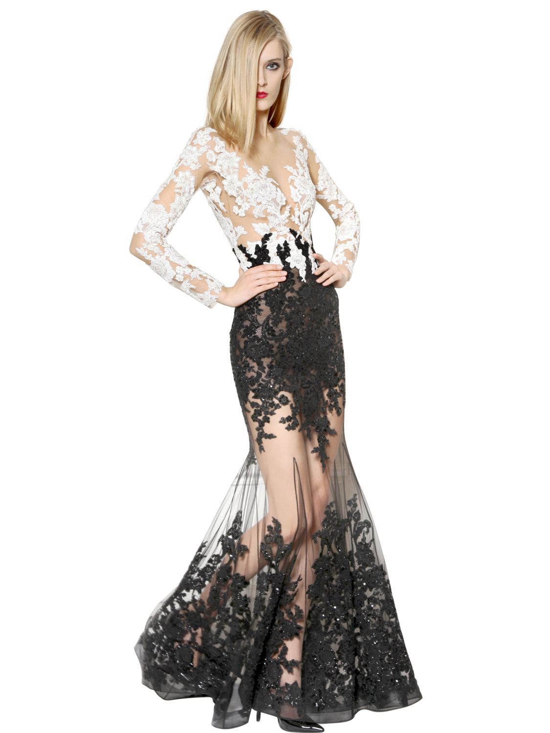 d4a86b89708 Zuhair Murad Embellished Lace   Tulle Mermaid Dress in Black - Lyst