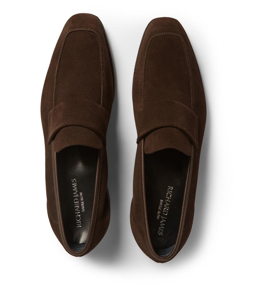 4b3631c31af Lyst - Richard James Suede Loafers in Brown for Men