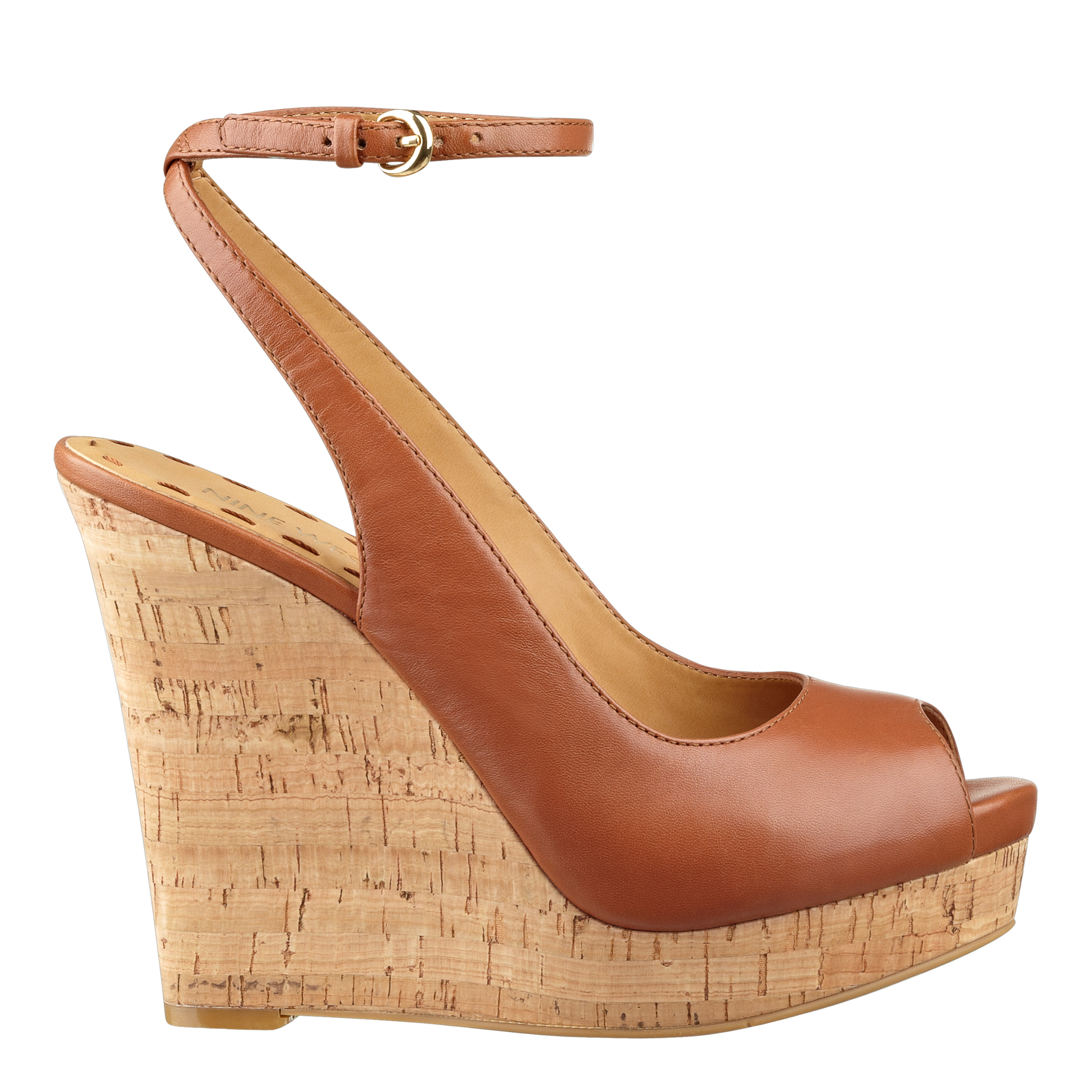 f32185ed1875 Lyst - Nine West Lienna Peep Toe Wedge in Brown