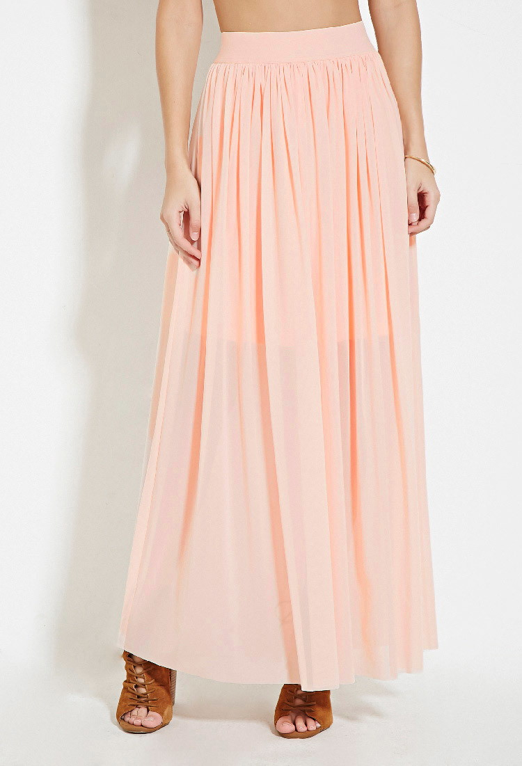 Lyst Forever 21 Tulle Maxi Skirt In Pink
