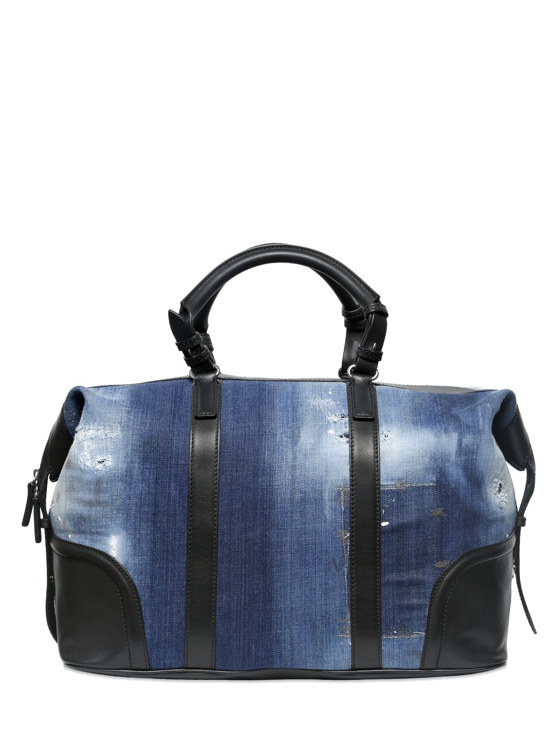 dsquared 178 denim and leather duffle bag in blue for lyst