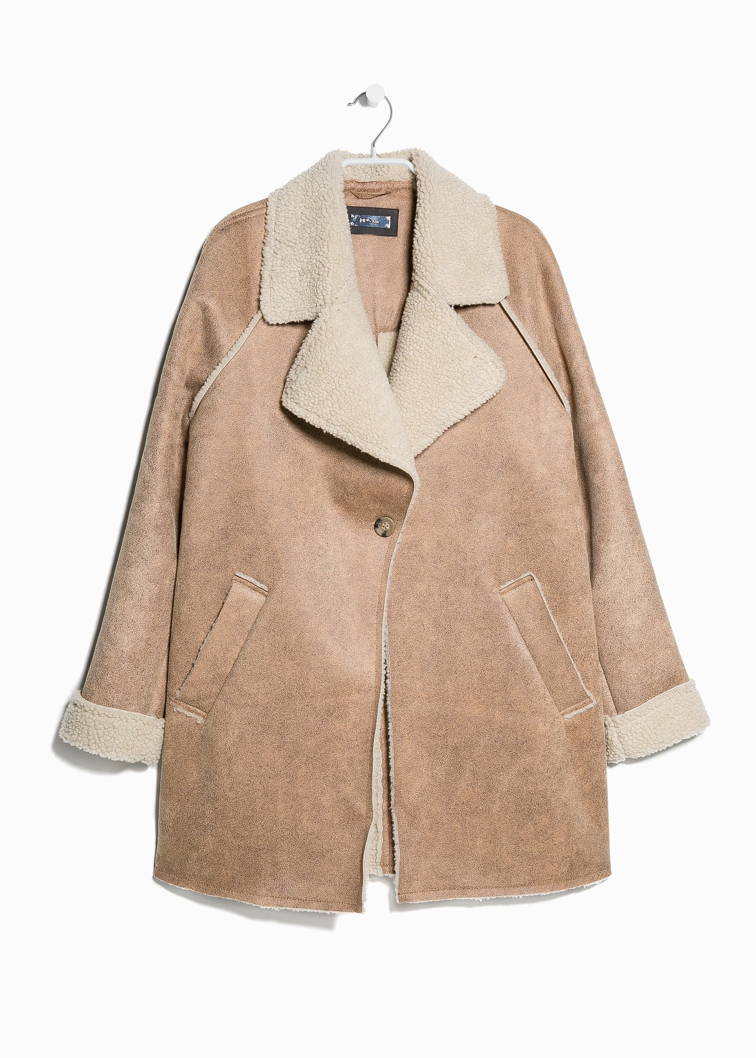 Mango Faux Shearling-Lined Coat in Brown | Lyst