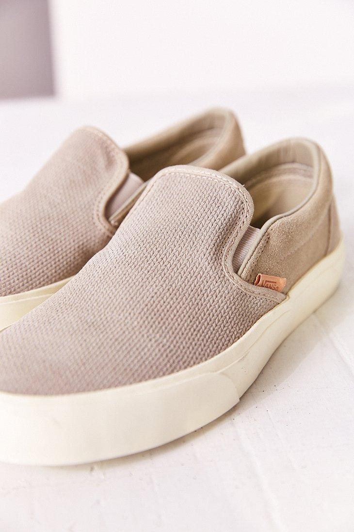 Vans Classic Pletene Suede Slip-On ženske Sneaker v sivi list-6759