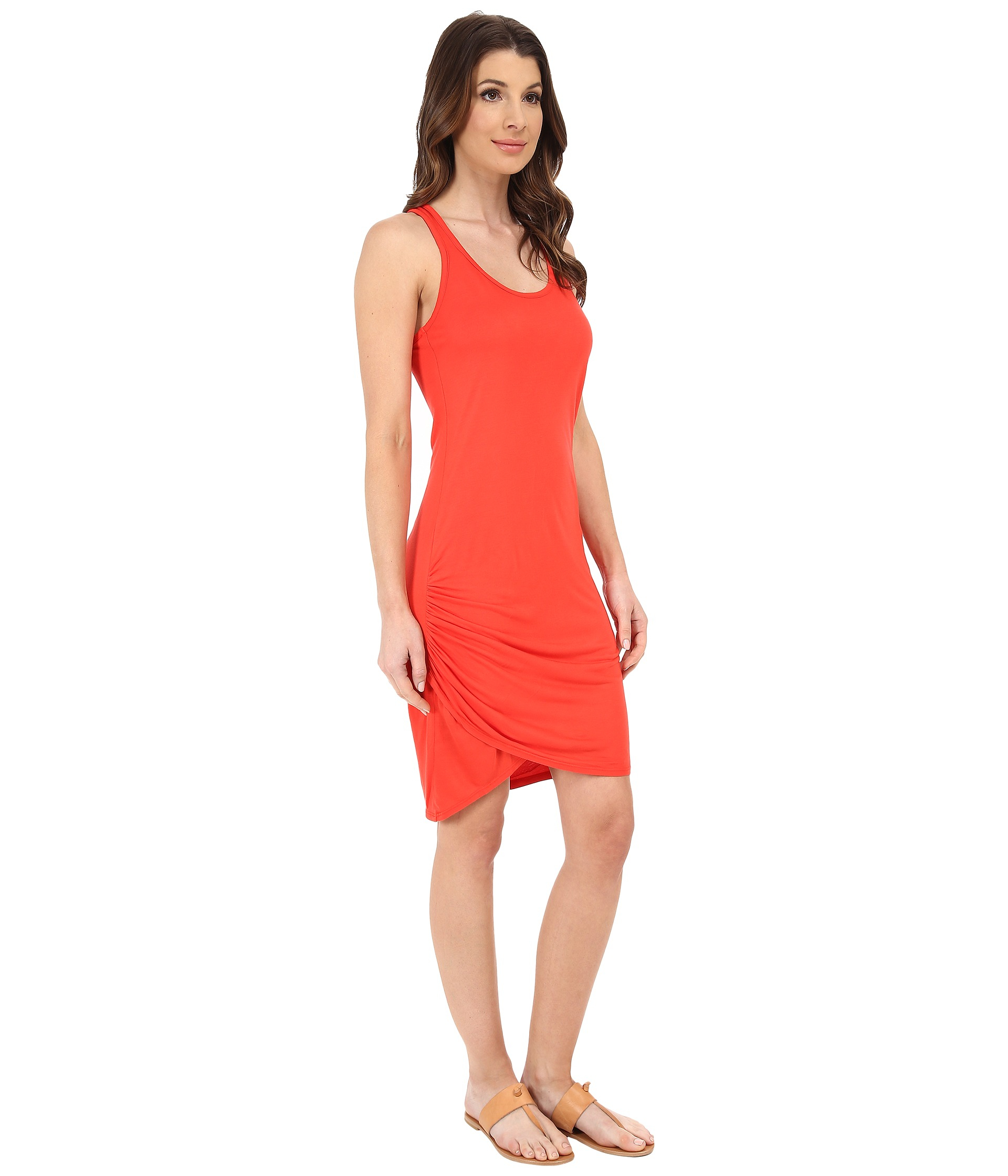 Michael stars red micro modal scoop neck racerback dress for Michael stars t shirts on sale