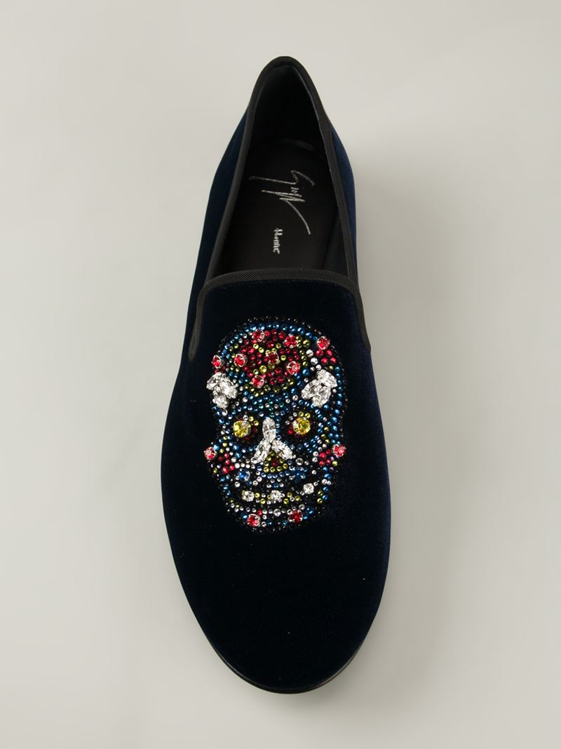Giuseppe Zanotti Glitter Skull Slippers Blue on oscar de la renta men shoes
