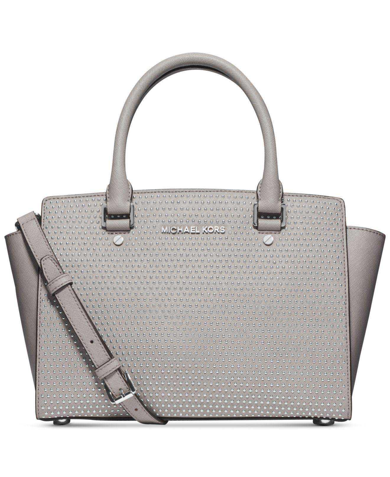 michael kors michael microstud selma medium top zip satchel in gray pearl grey silver lyst. Black Bedroom Furniture Sets. Home Design Ideas