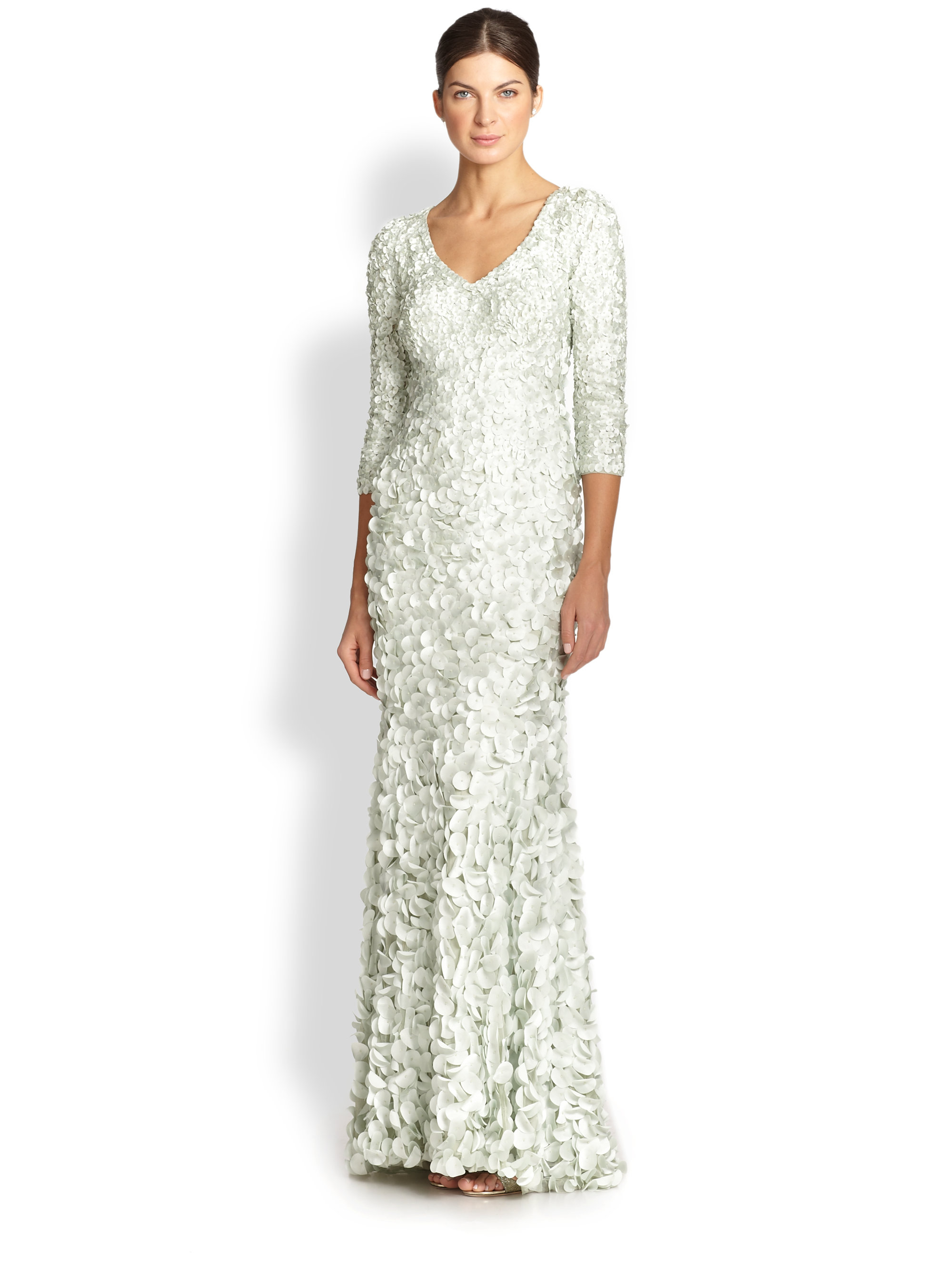 45a20108a25 Lyst Theia Petal Three Quarter Sleeve Gown In Green