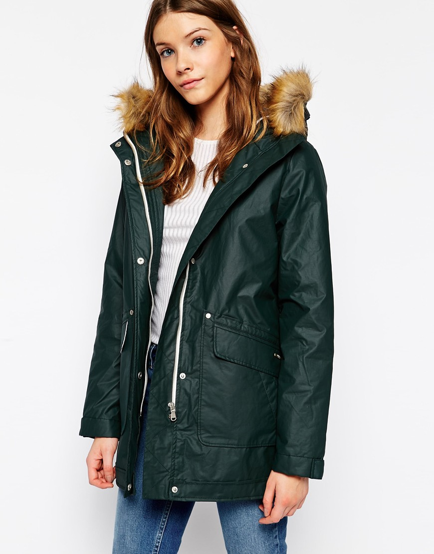 Parka london rain parka with faux fur hood
