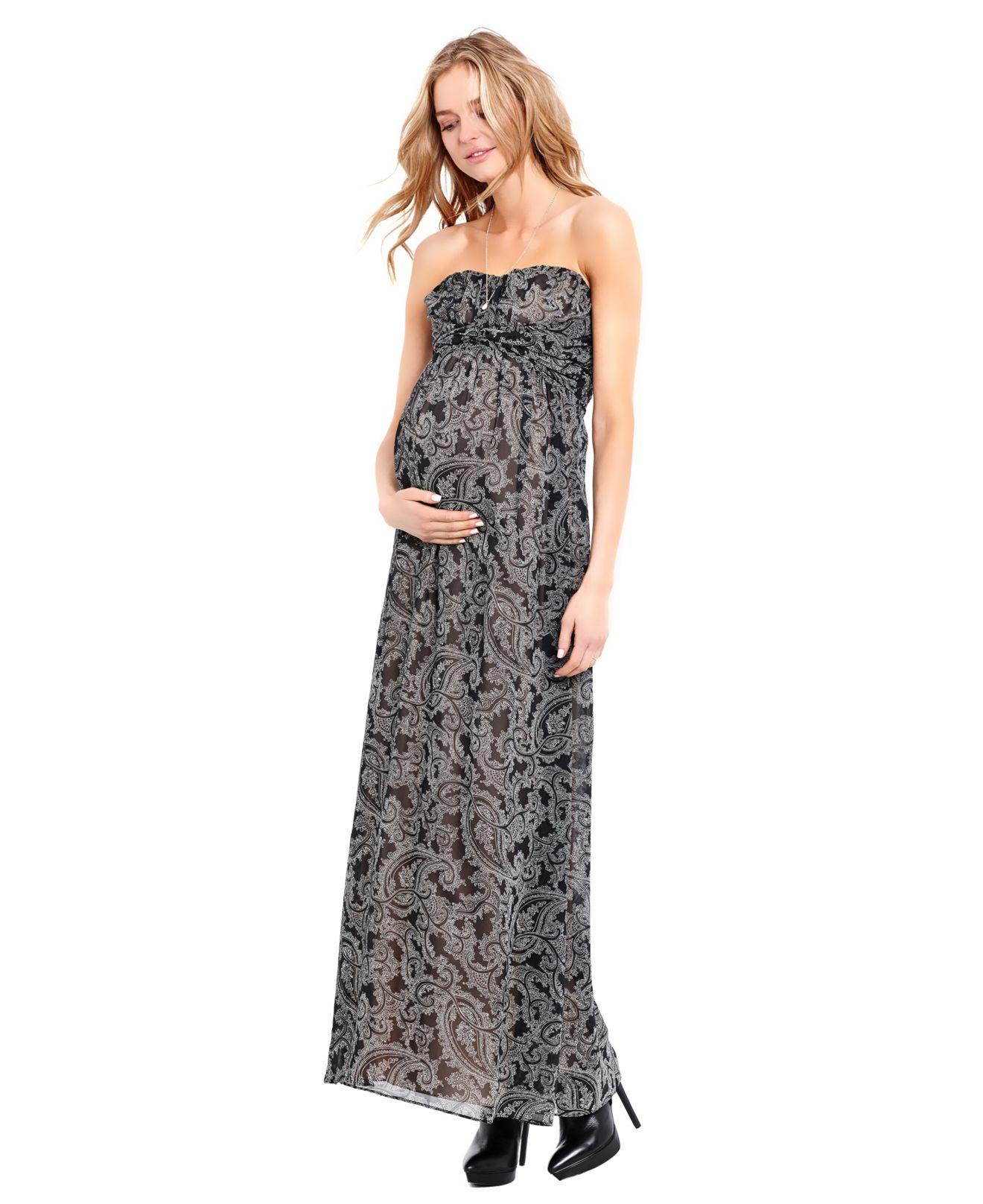 f923f88f97dff Jessica Simpson Maternity Strapless Paisley-Print Maxi Dress - Lyst