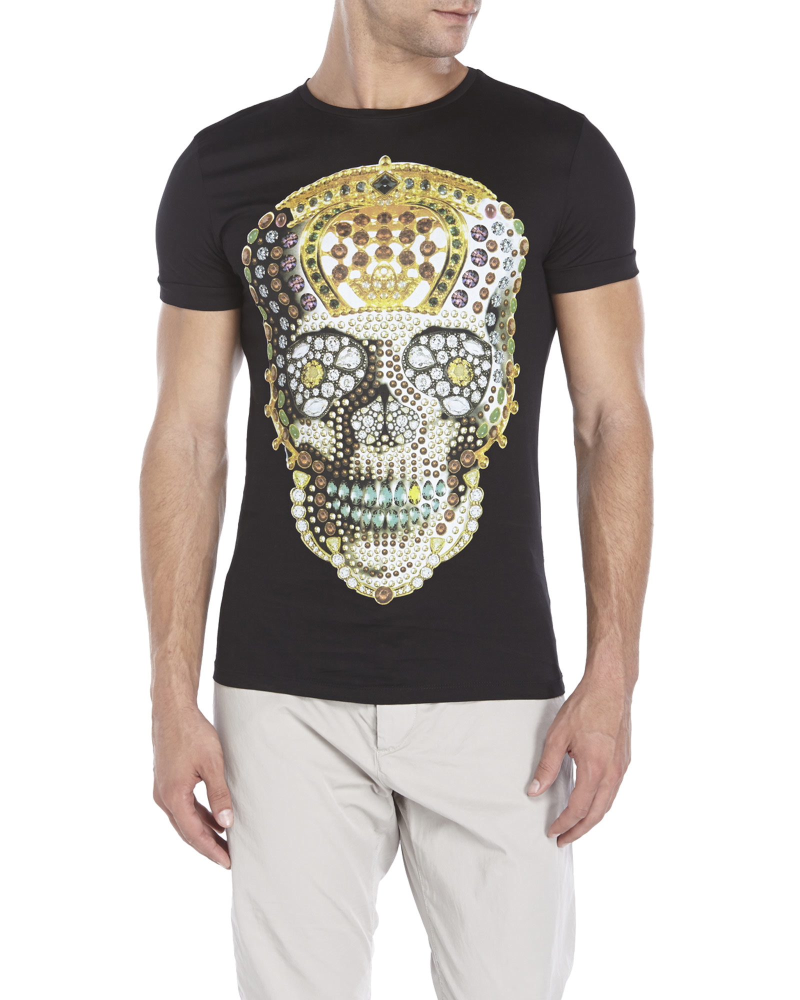 189e14b8 Lyst - Antony Morato Black Jewel Skull Tee in Black for Men