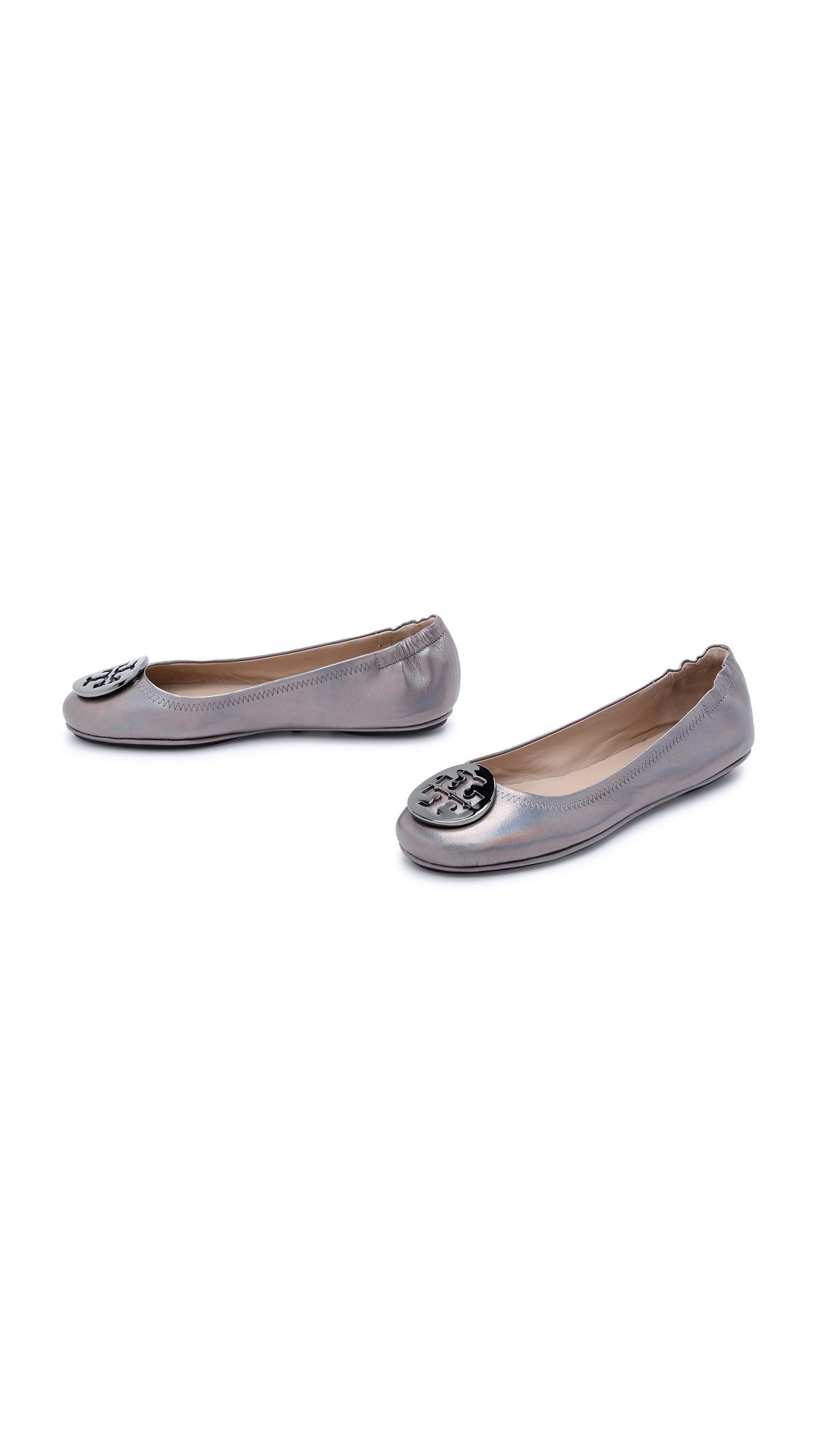 79fa62582 Tory Burch Minnie Travel Ballet Flats - Gunmetal in Gray - Lyst