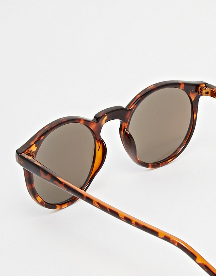 Asos Womens Skinny Frame Round Sunglasses With Flash Lens Tortoise - Sunglasses