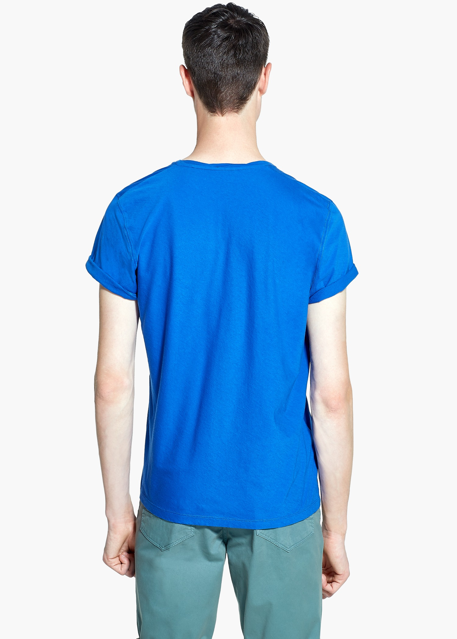Mango soft egyptian cotton t shirt in blue for men lyst for Soft cotton dress shirts