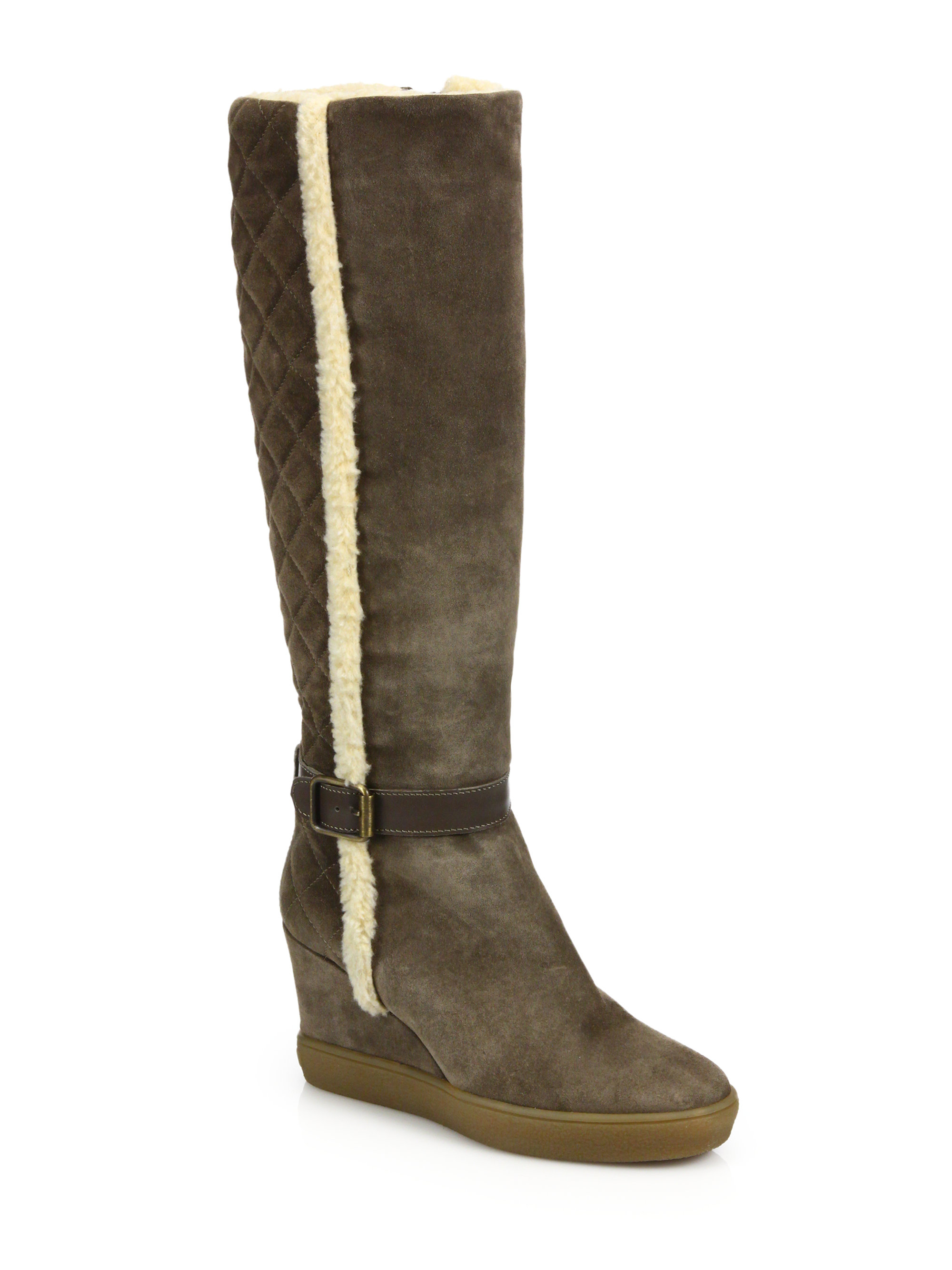 aquatalia callie suede faux fur knee boots in brown lyst