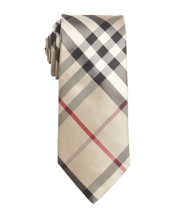Lyst Burberry Coffee Check Silk Slim Tie In Natural For Men