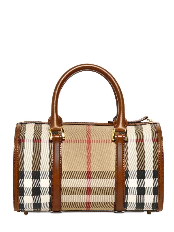 Burberry Medium Alchester Bridle House Check Bag in Brown - Lyst e9d7e180592ce