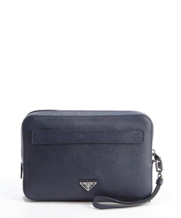 63d920ffe6b3 ... order prada baltic blue saffiano leather double zipper small travel bag  in 1652d 736fd ...