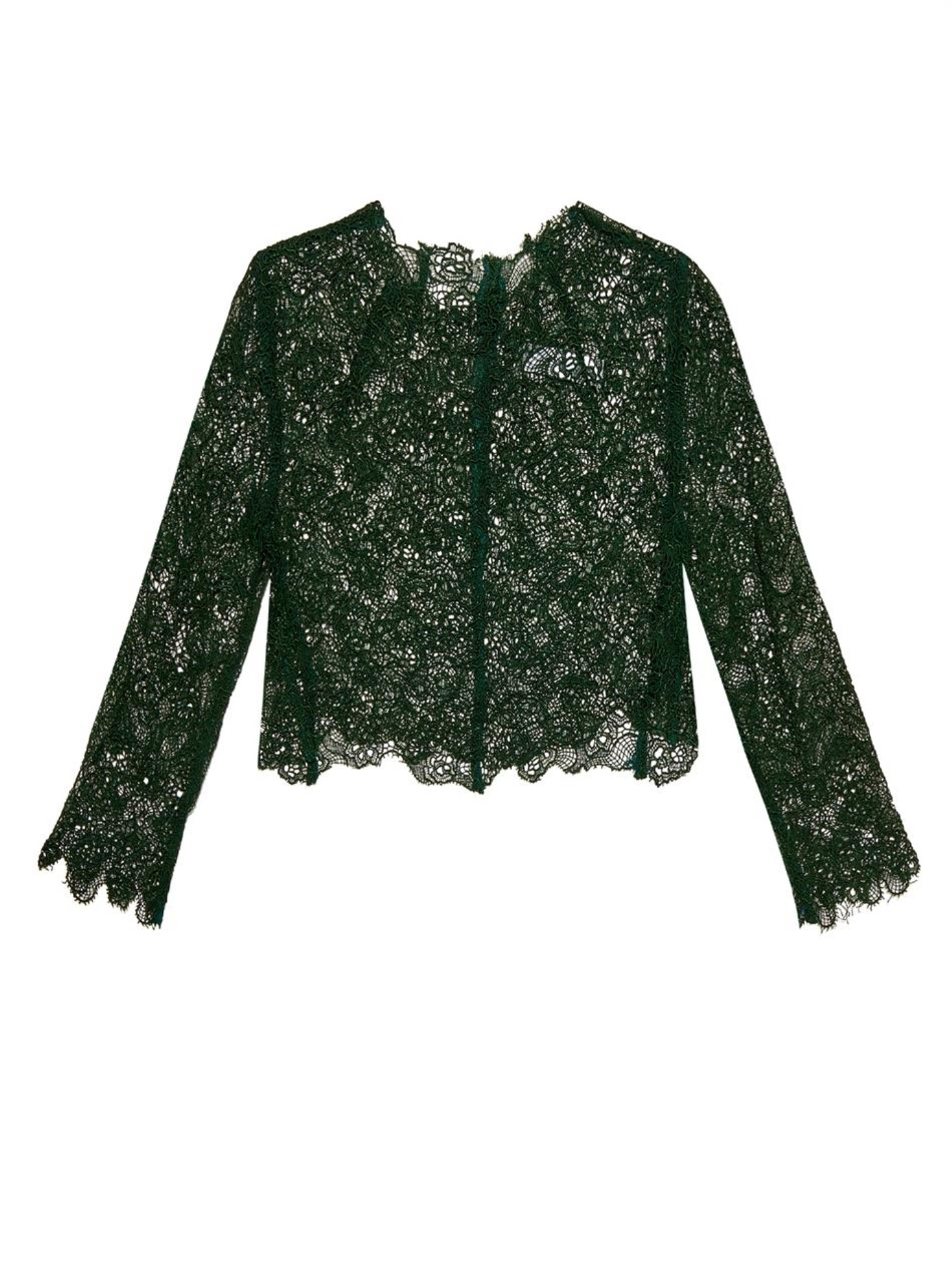 Toga Floral Lace Cropped Top in Green - Lyst