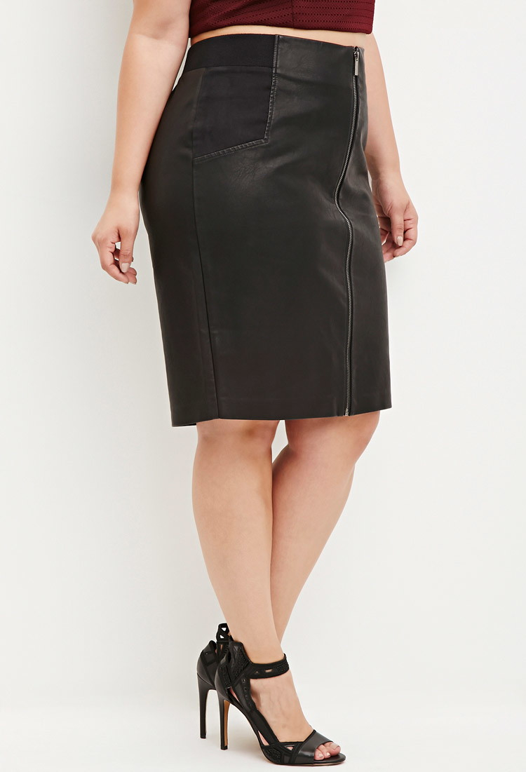 forever 21 plus size faux leather pencil skirt in black lyst