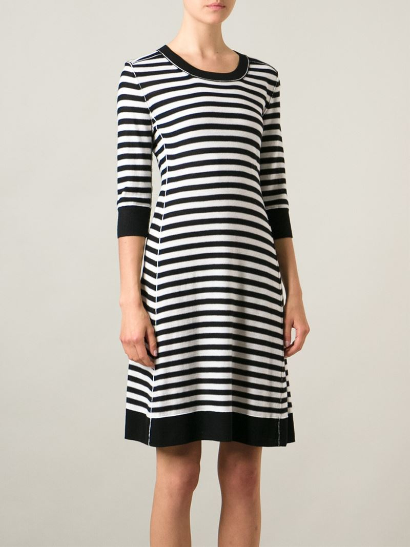 5137518270 Sonia by Sonia Rykiel Striped Knitted Dress in Black - Lyst