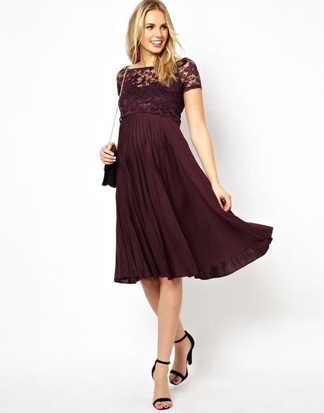 Asos Maternity Pleated Midi Dress With Lace Top in Purple ...