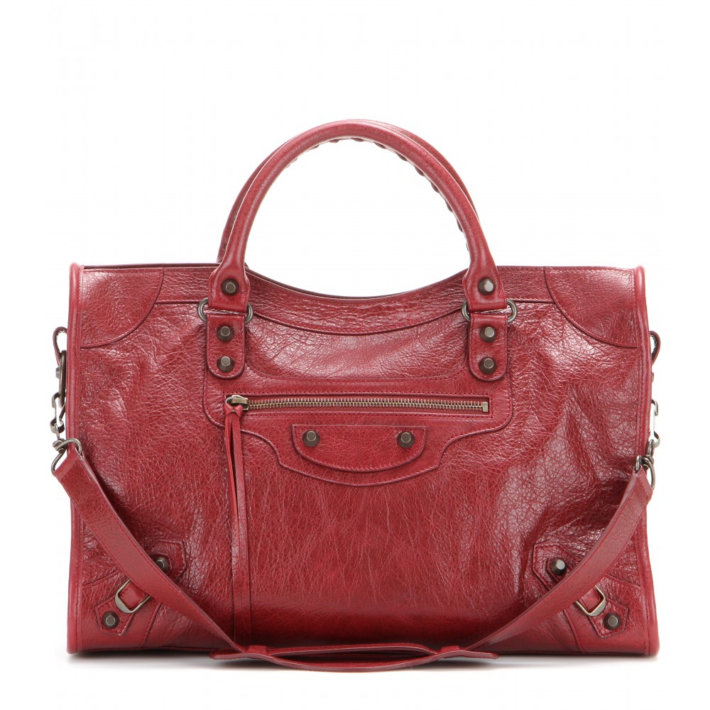 Balenciaga Classic City Leather Tote in Red