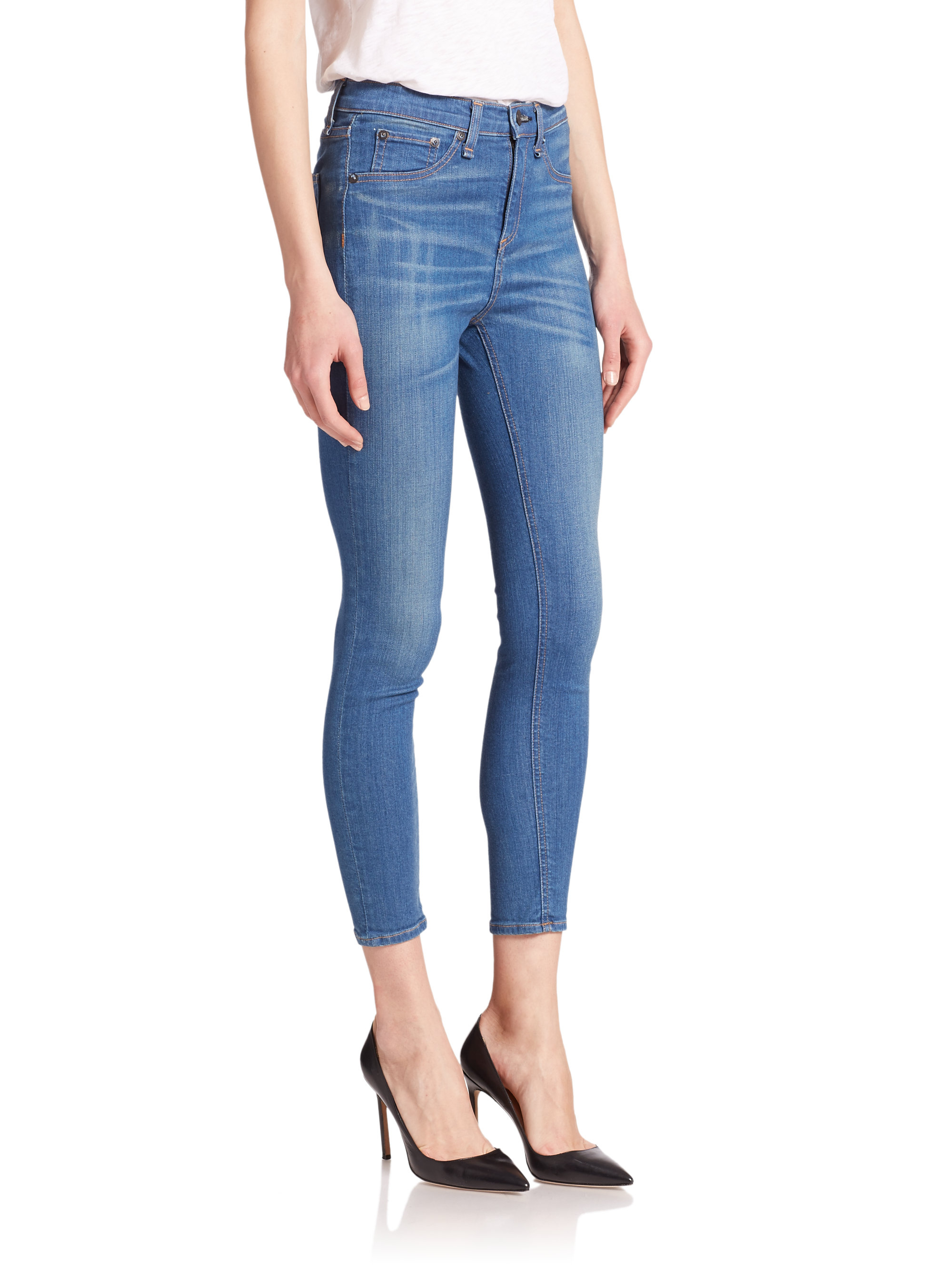 Rag & bone The High-rise Capri Skinny Jeans in Blue | Lyst